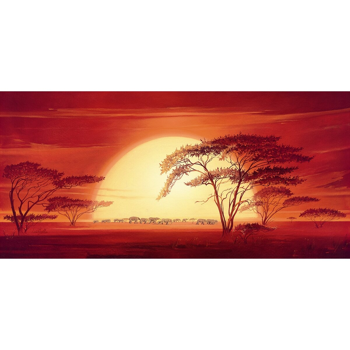 Stretcher Sunrise With Elephants Art Print on Canvas ...