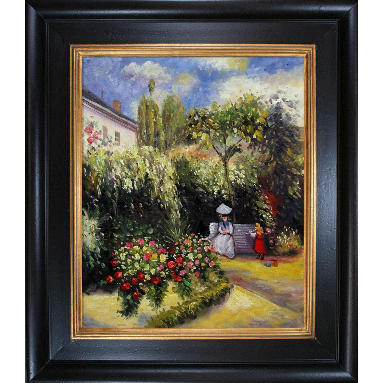 The Garden At Pontoise By Camille Pissarro Framed Painting