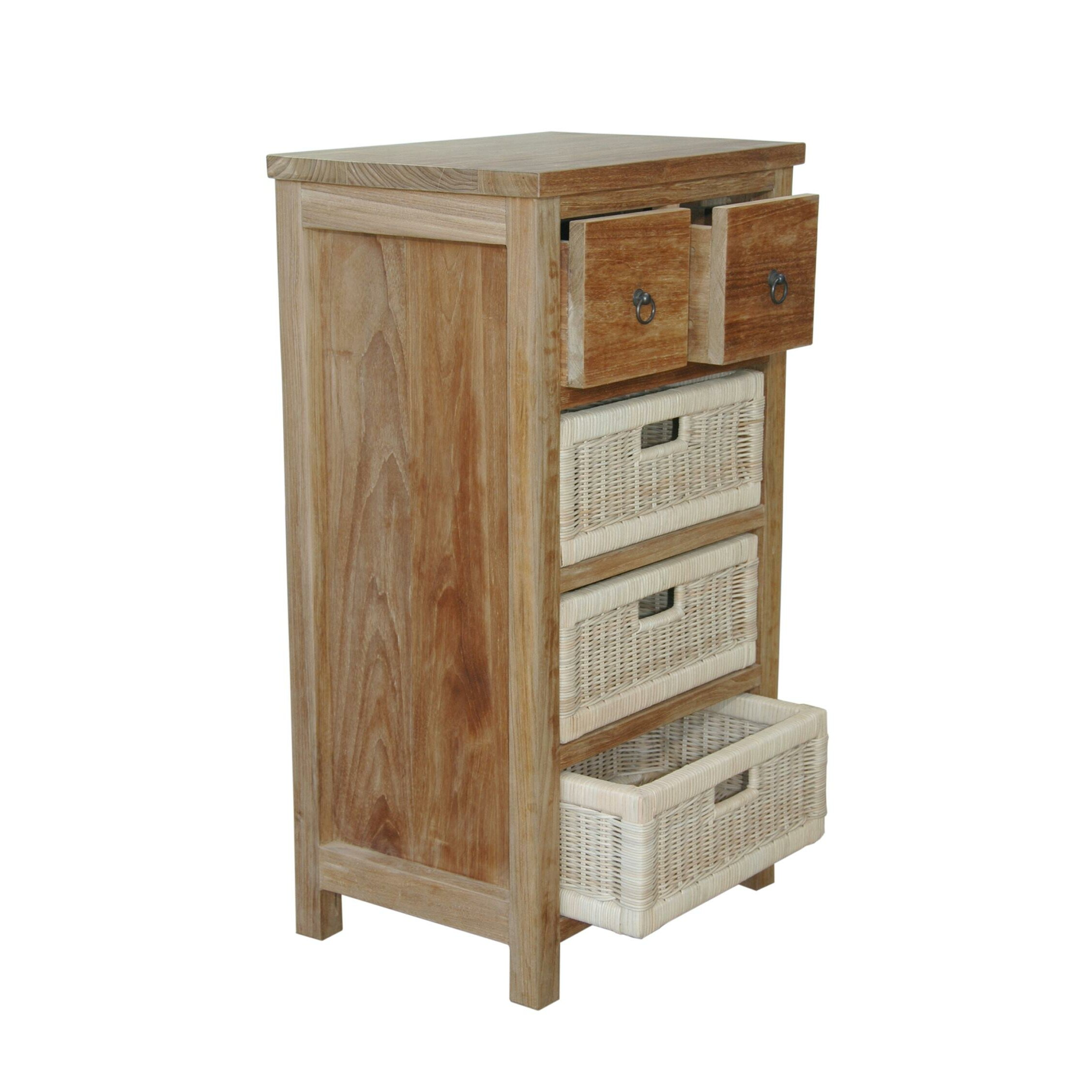drawers for bedroom safari accent chest with drawer and rattan basket wayfair 11469