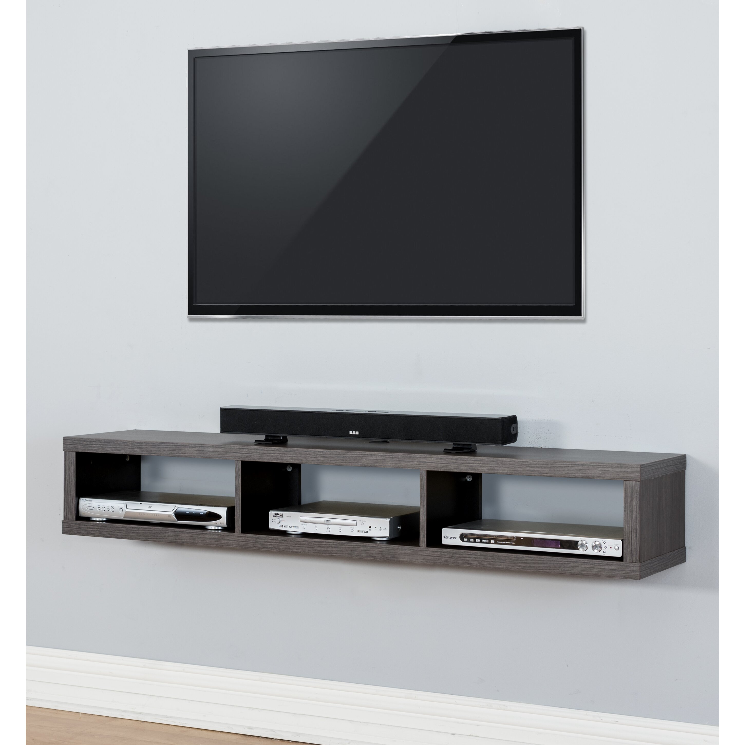 60 quot shallow wall mounted tv component shelf by martin home furnishings