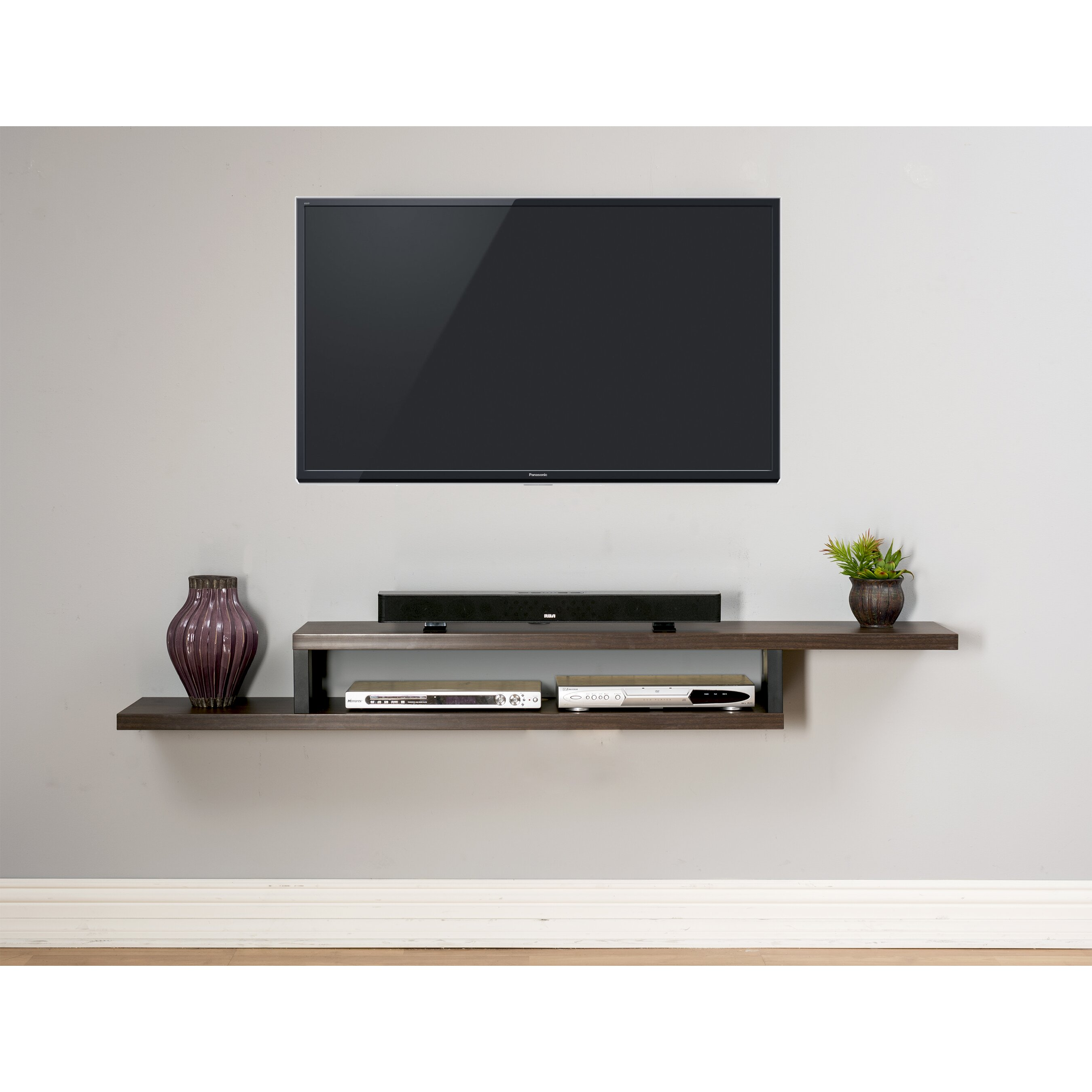 Ascend 72 asymmetrical wall mounted tv component shelf - Tv wall mount with shelf ...