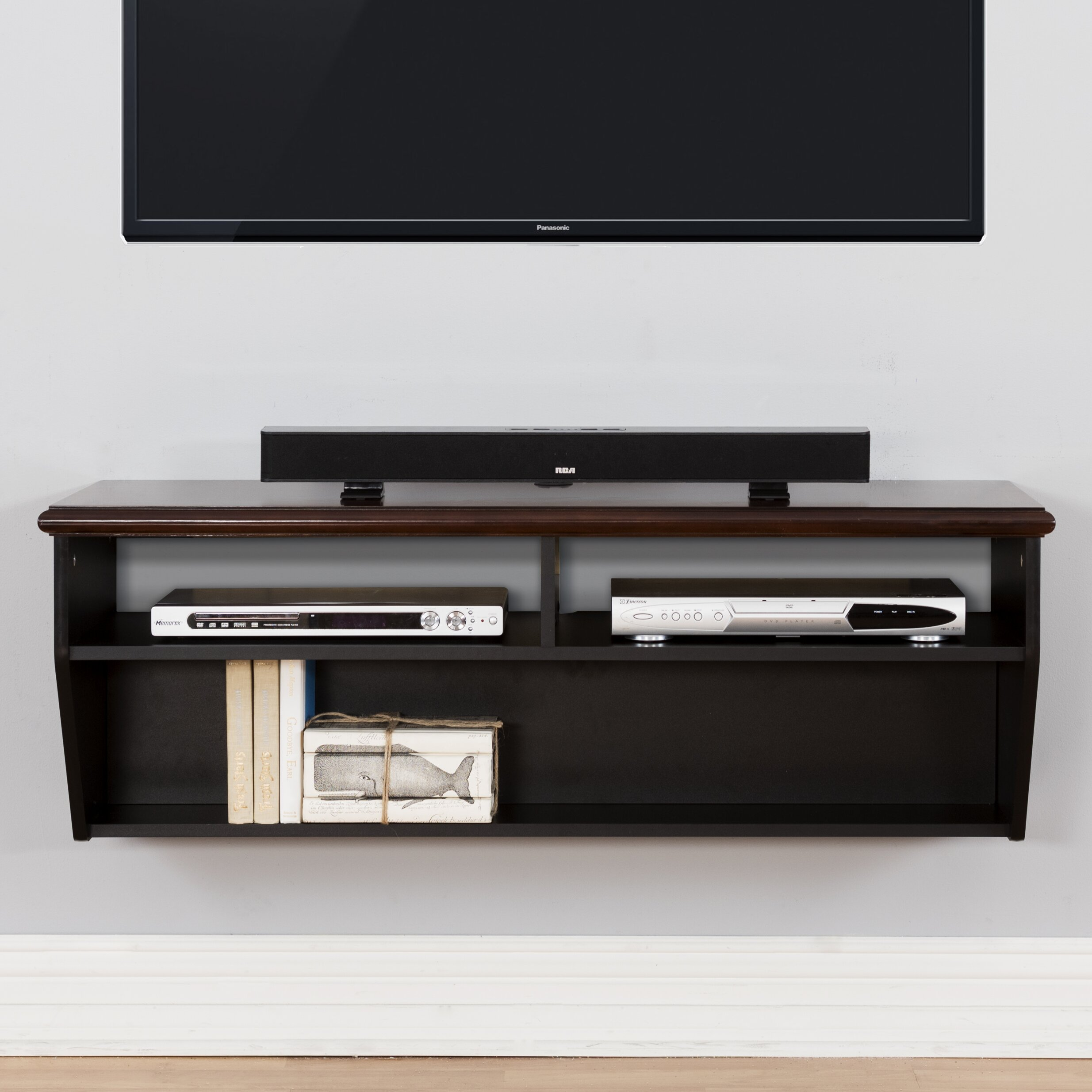 48 hardwood veneer top wall mounted tv component shelf for Wall cabinets for tv components