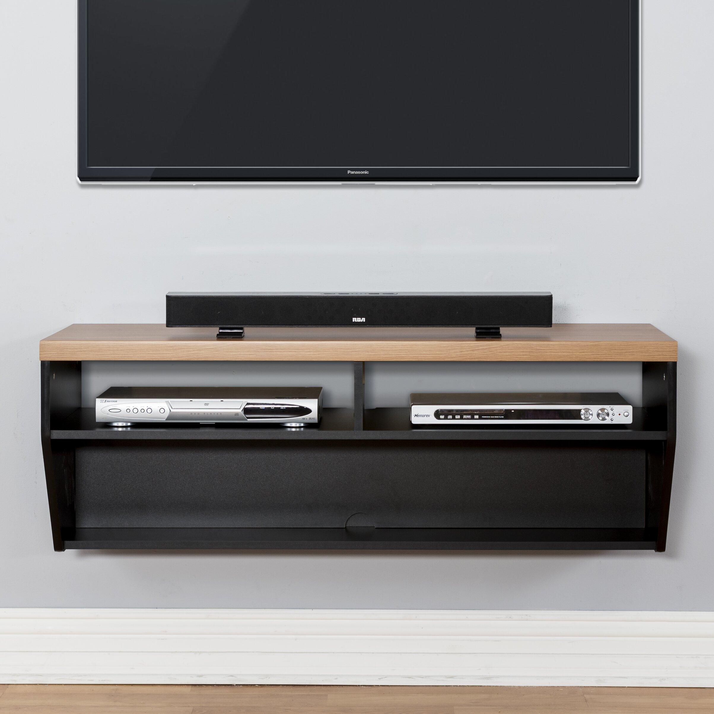 48 angled sides wall mounted tv component shelf wayfair - Slanted wall tv mount ...