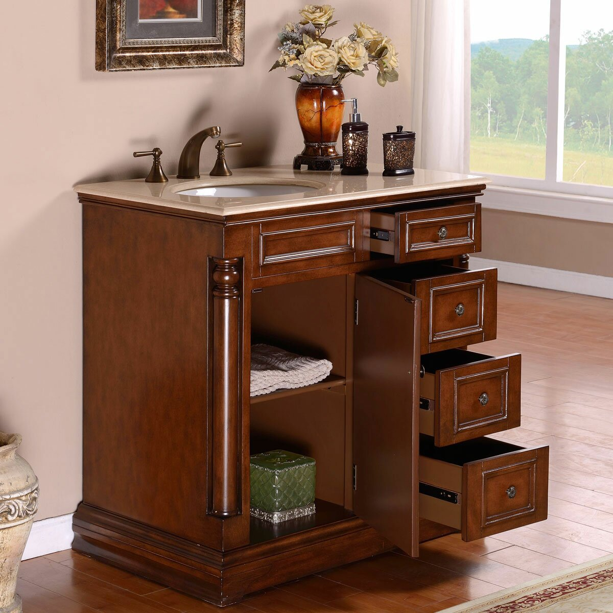 Ensemble Vanite Armoire : Quot single sink cabinet bathroom vanity set wayfair