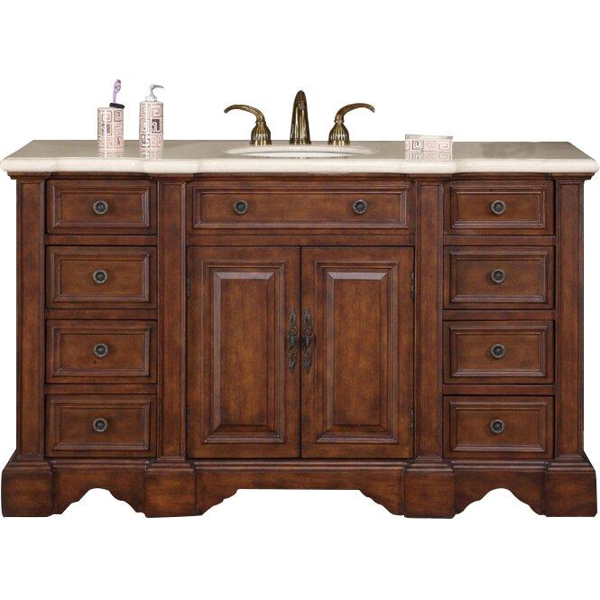 """58 Bathroom Vanity Single Sink: Silkroad Exclusive Sabina 58"""" Single Bathroom Vanity Set"""
