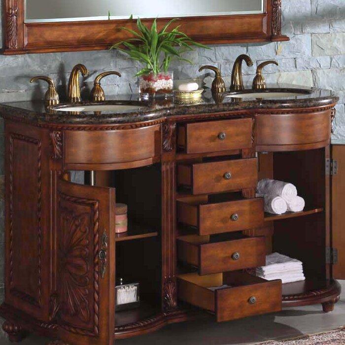 Alexandra 54 double bathroom vanity set wayfair for 54 inch double sink bathroom vanity