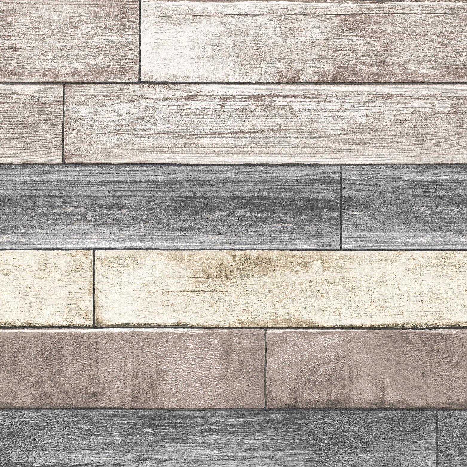 nu 18 39 x 20 5 reclaimed wood plank natural peel and stick wallpaper wayfair. Black Bedroom Furniture Sets. Home Design Ideas