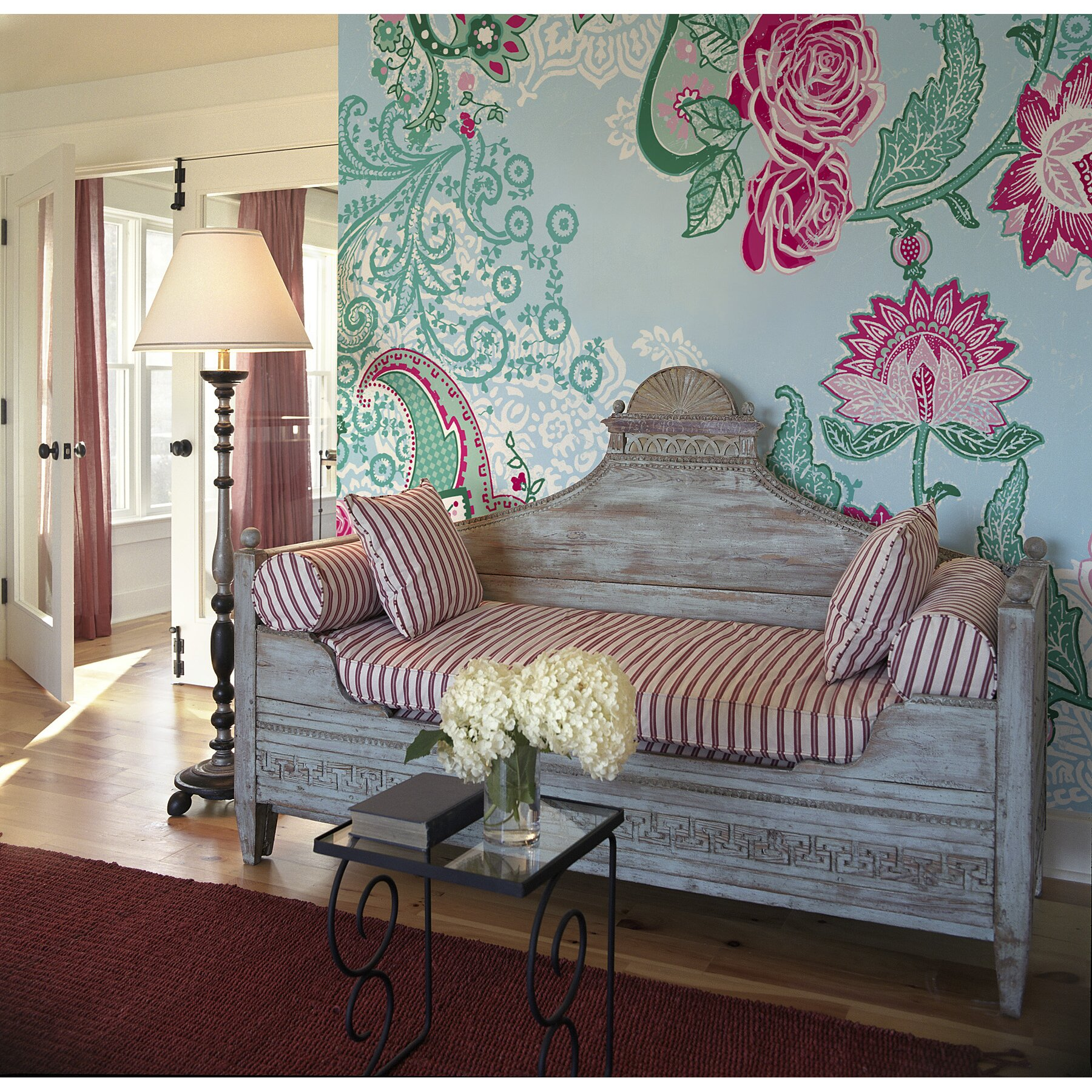 Brewster home fashions komar paisley rose wall mural for Brewster birch wall mural