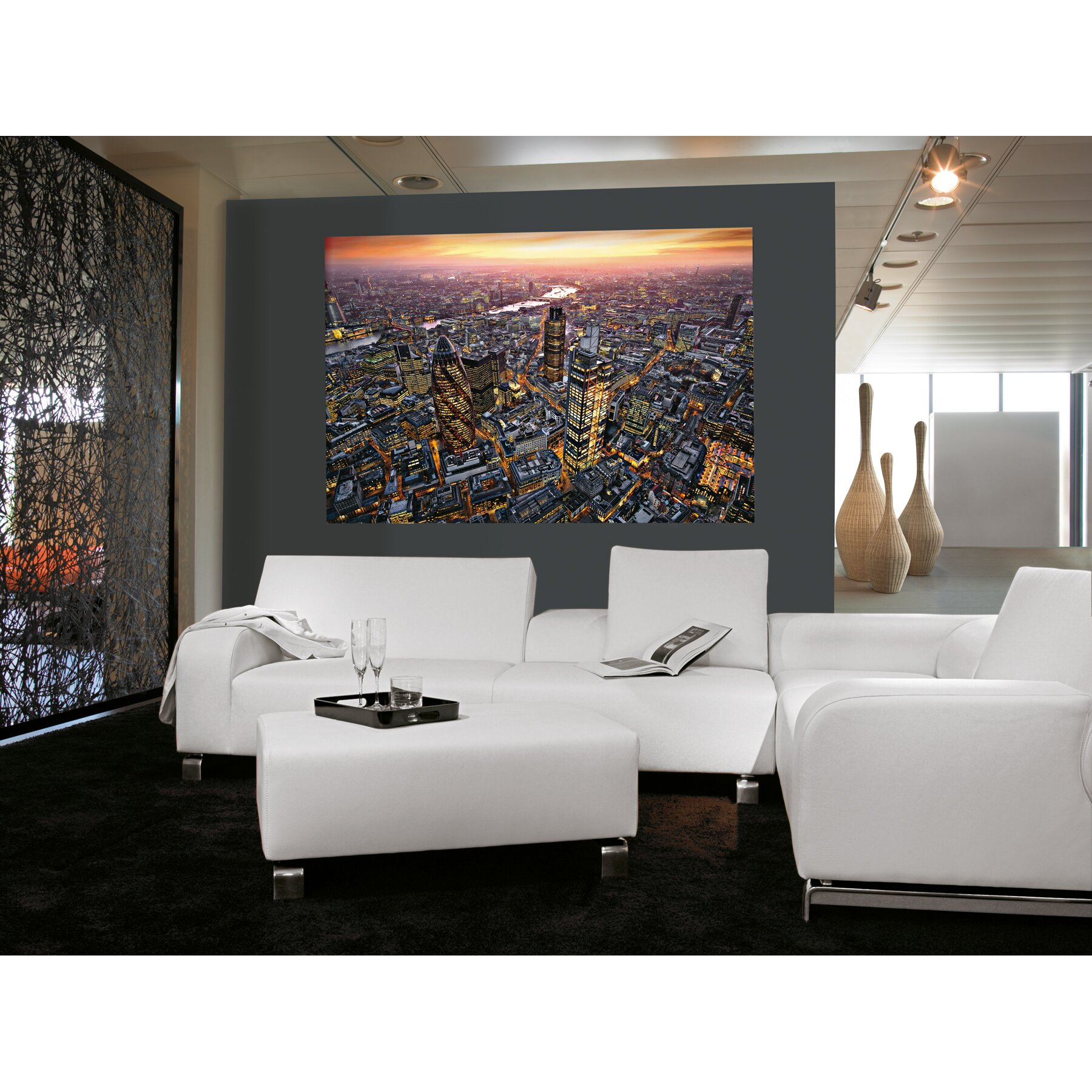 Ideal decor london aerial wall mural wayfair for Home decorations london