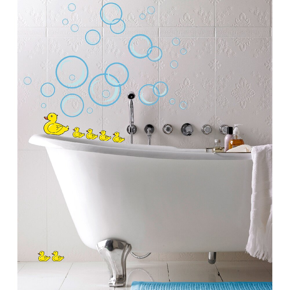 wall stickers for bathroom uk color the walls of your house euro bubble ducks wall decal wayfair