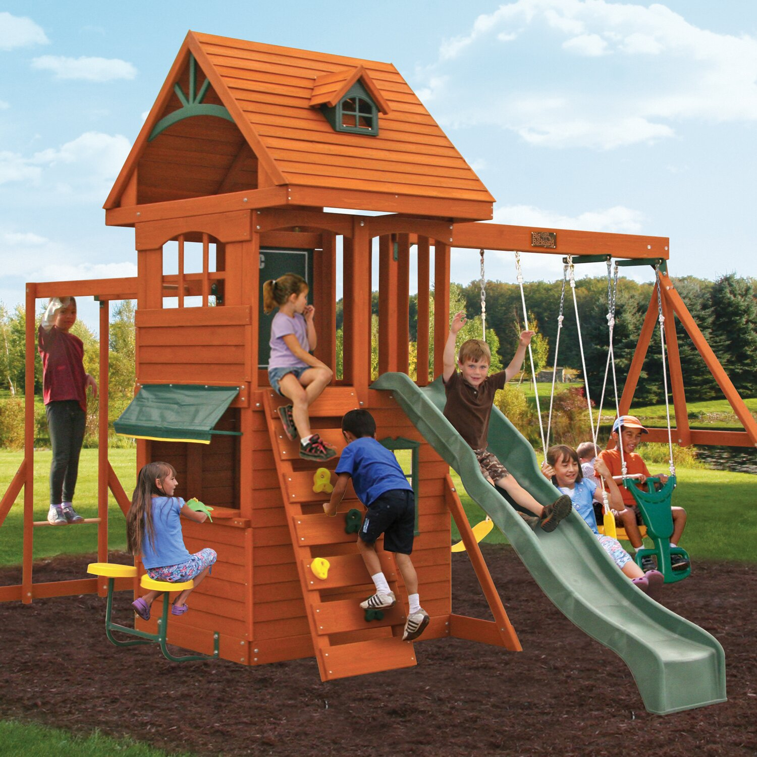 ridgeview deluxe clubhouse wooden swing set by big backyard
