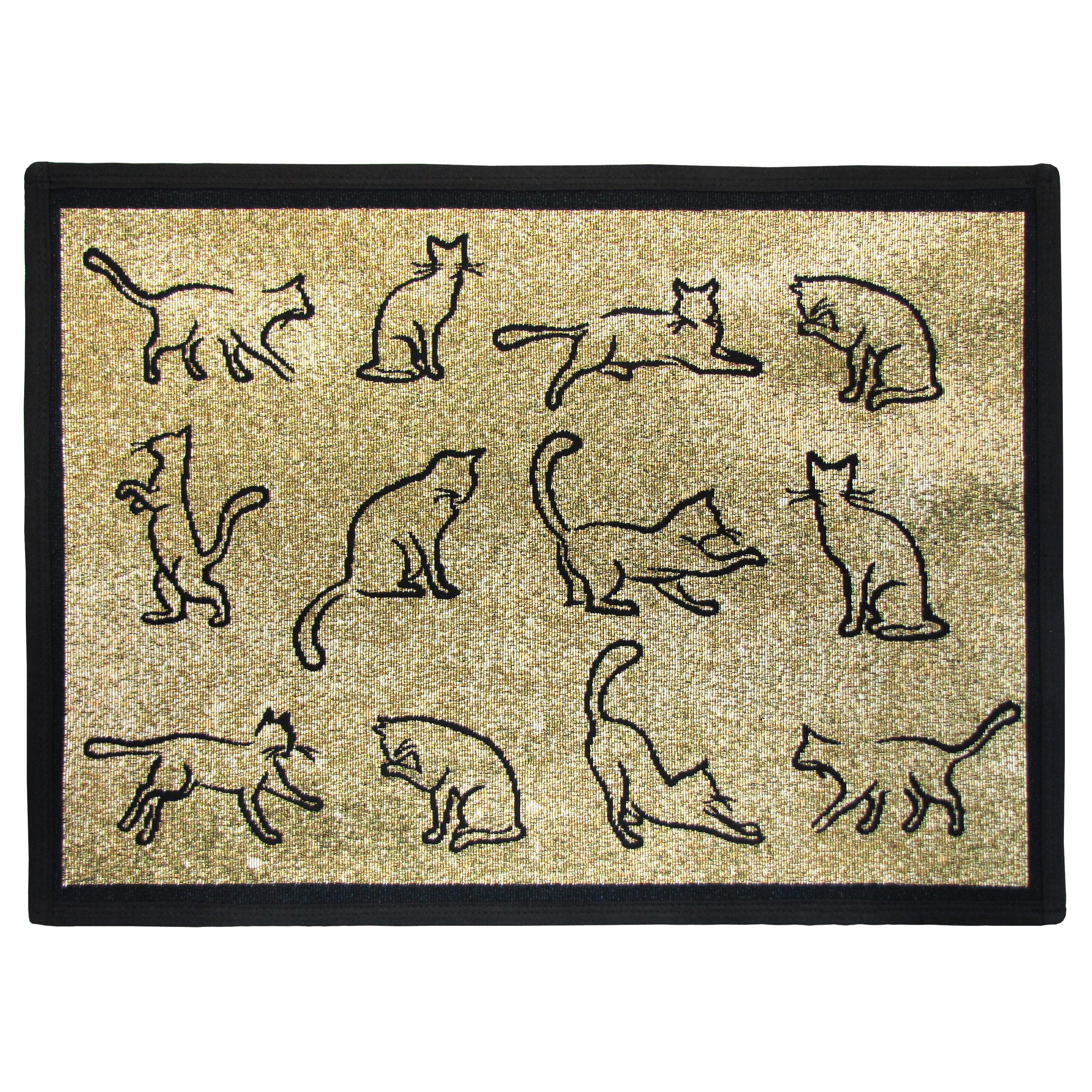 Pb Paws Amp Co Gold Black Kitten Fun Tapestry Indoor