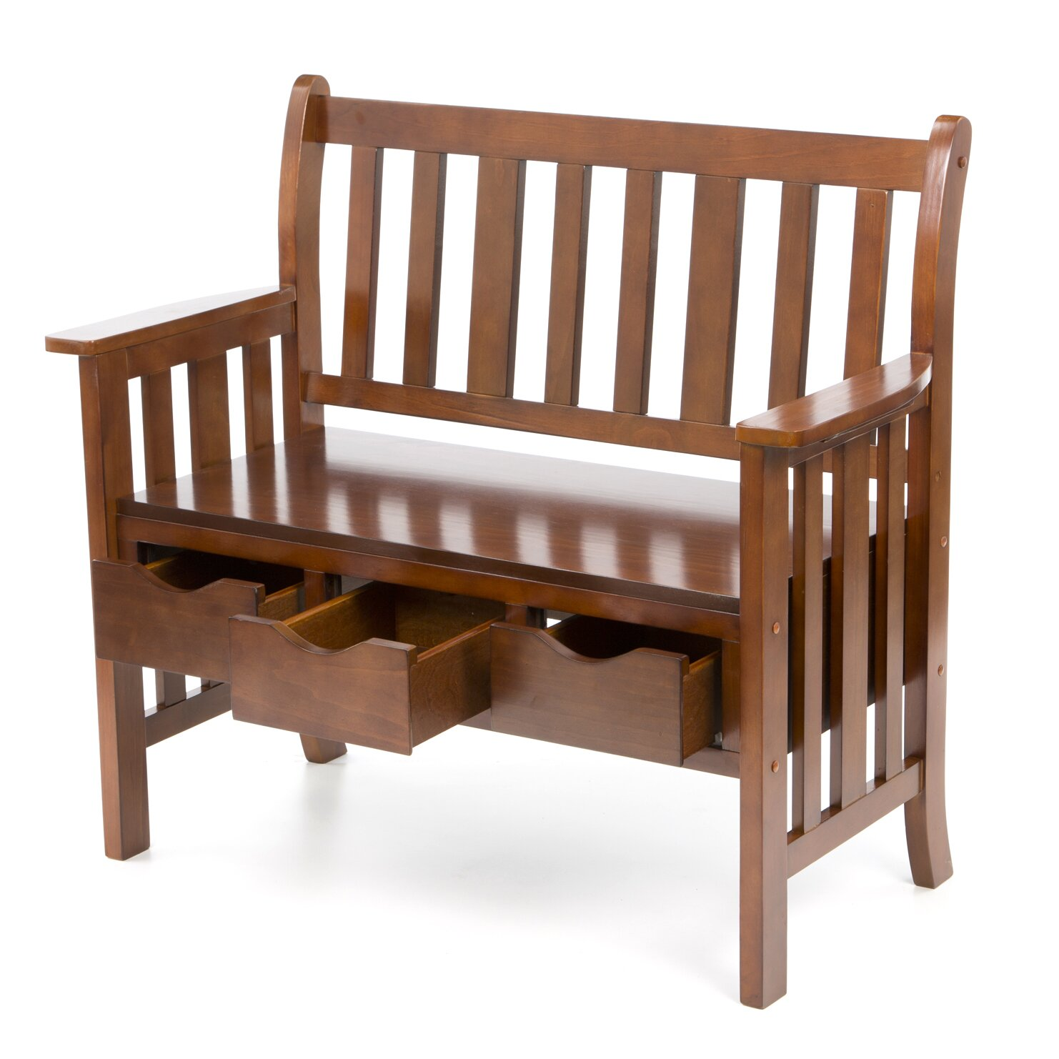 Superb img of  Home ® Davidson Storage Wood Entryway Bench & Reviews Wayfair with #381E0E color and 1482x1482 pixels