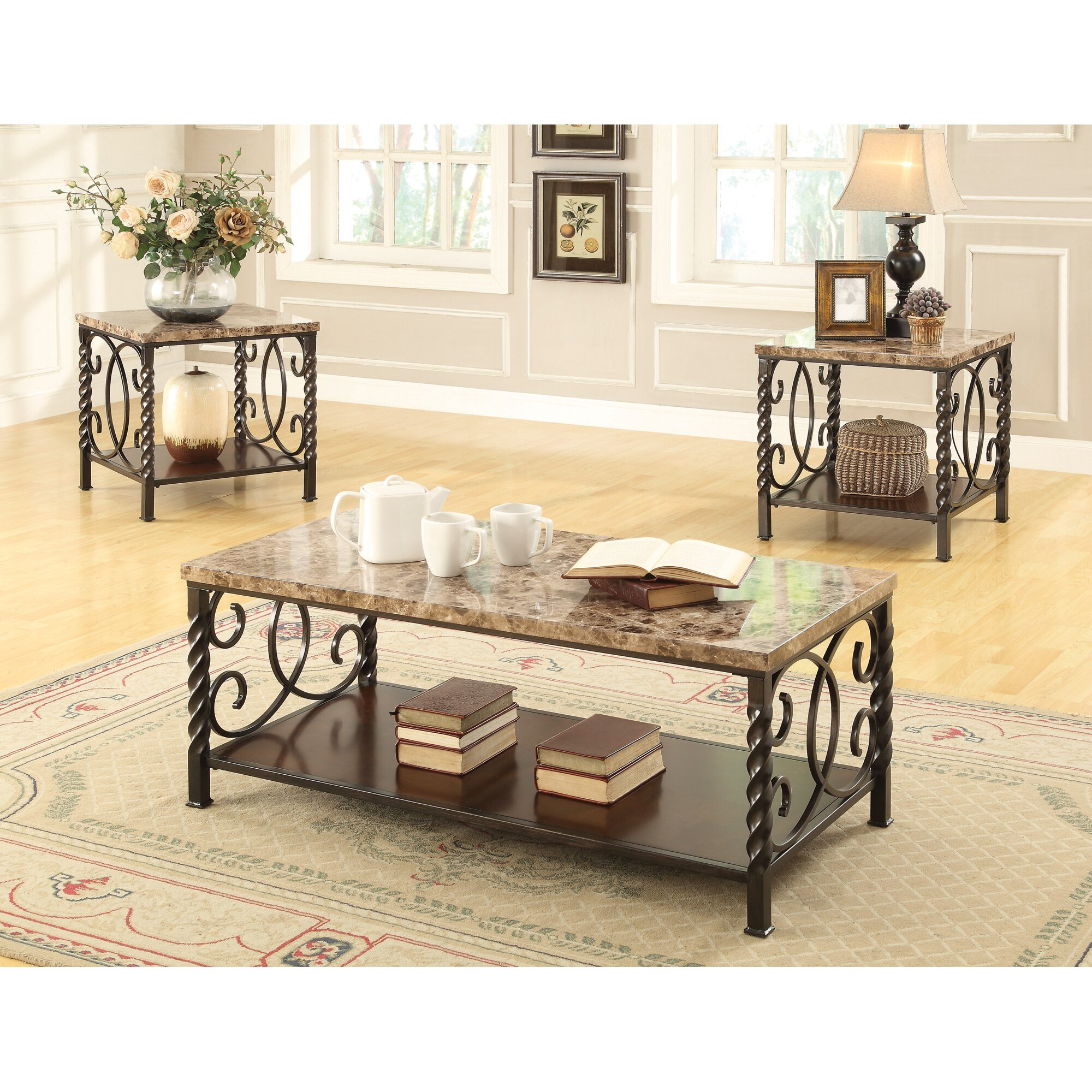 Veropeso 3 Piece Coffee Table Set: Wildon Home ® 3 Piece Coffee Table Set & Reviews