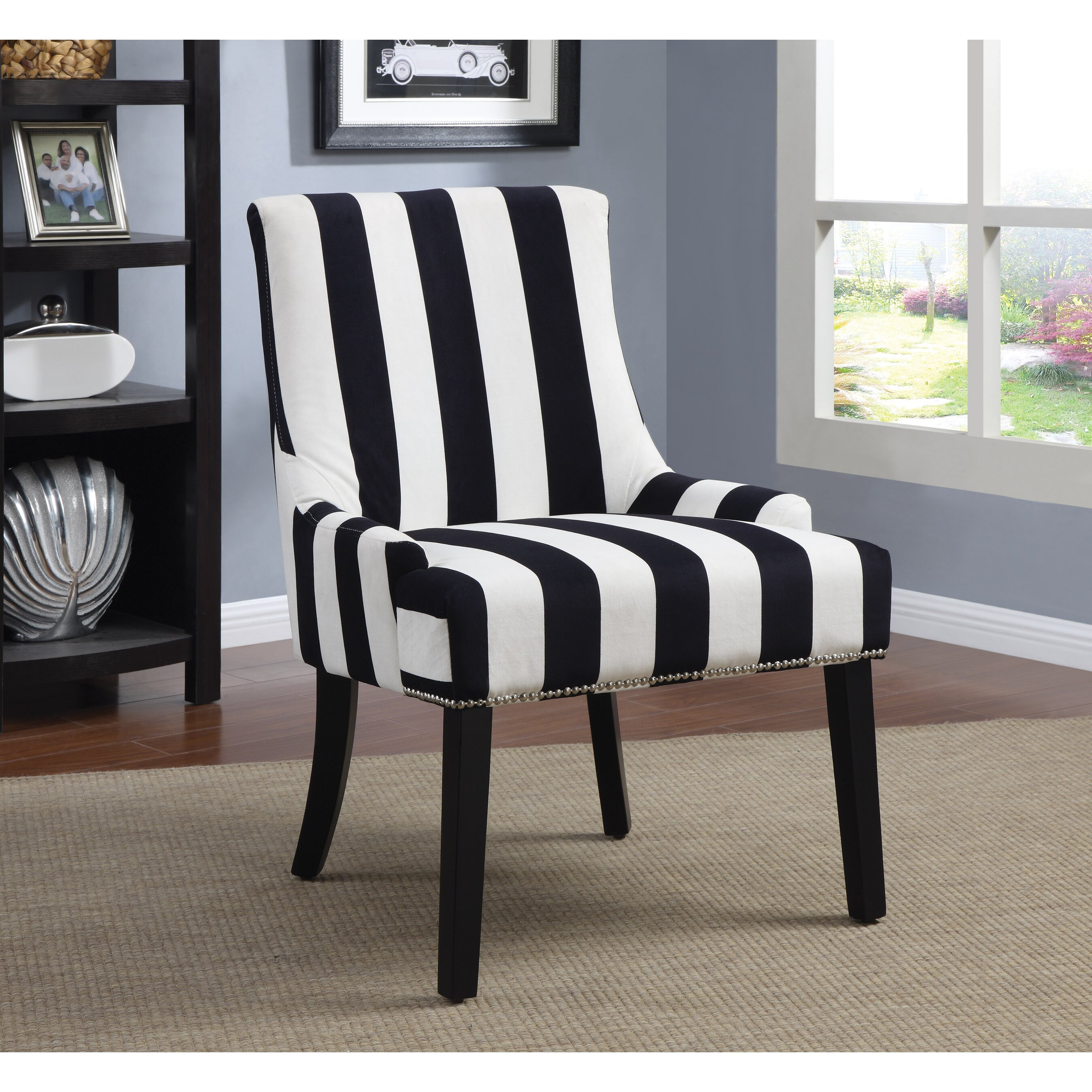 Fanback Chair With Navy Stripe: Navy Stripe Side Chair