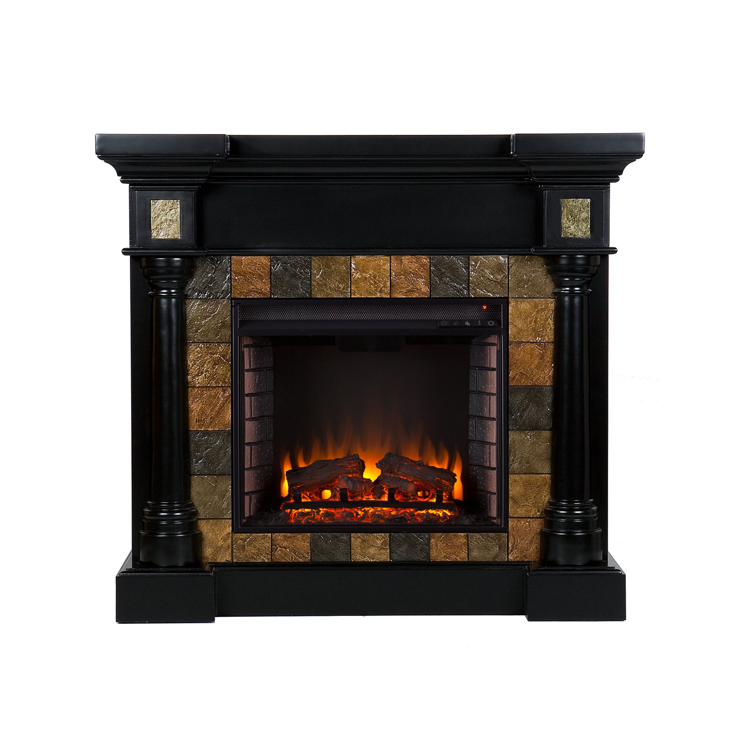Clark Carraway Faux Slate Convertible Electric Fireplace