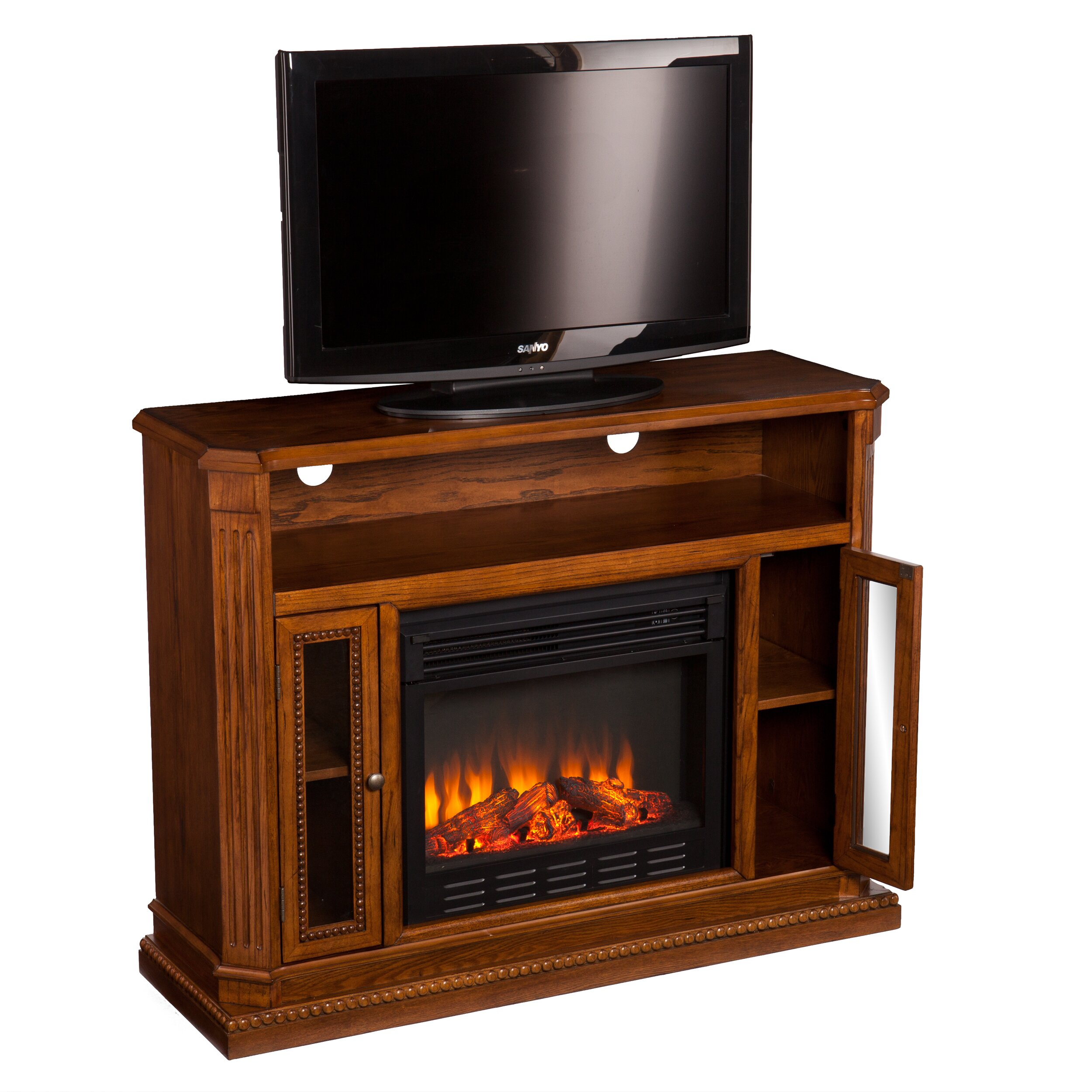 delaney tv stand with electric fireplace wayfair
