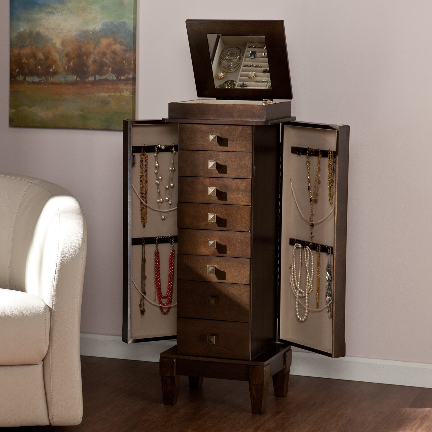 Marian Jewelry Armoire with Mirror | Wayfair