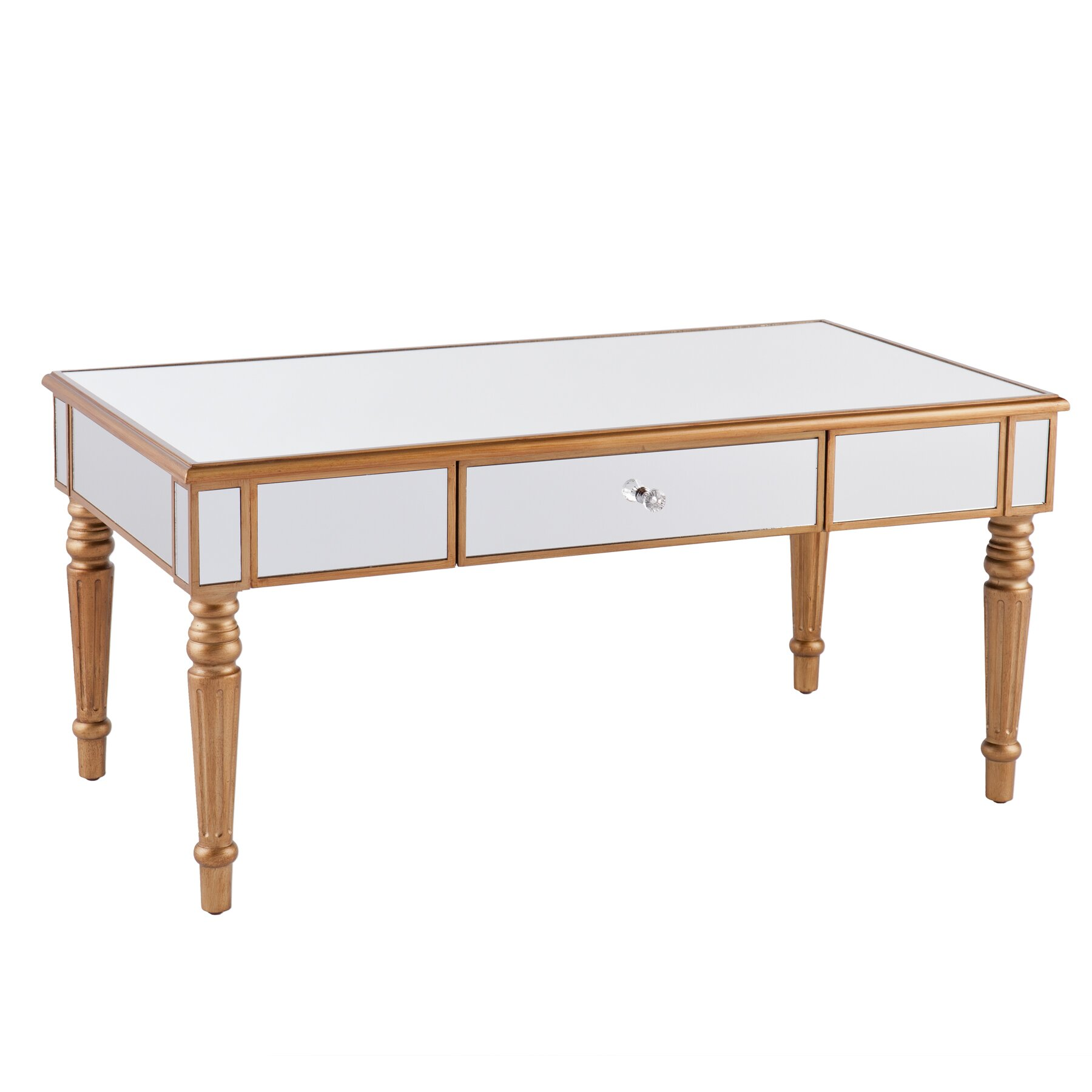 Wildon home r huxley mirrored coffee table reviews wayfair for Wayfair mirrored coffee table