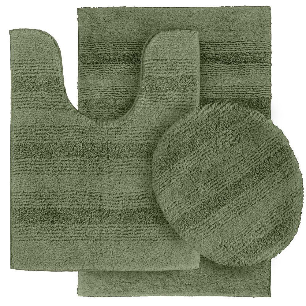 Deyanira 3 Piece Green Bath Rug Set