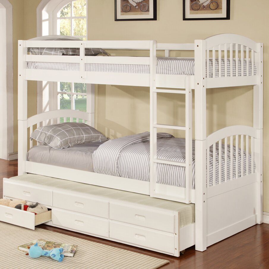 arthur twin bunk bed with trundle and storage wayfair. Black Bedroom Furniture Sets. Home Design Ideas