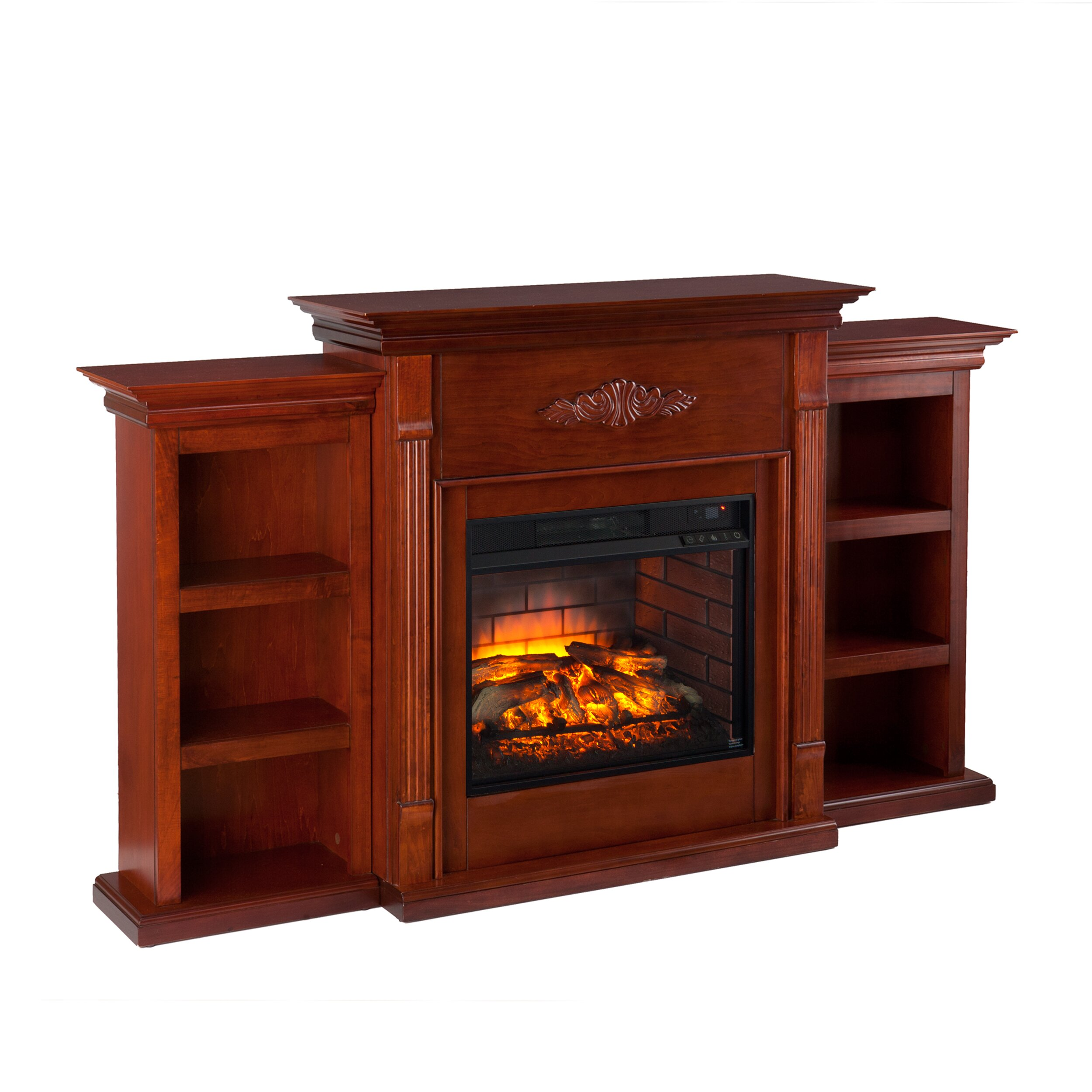 tabor infrared electric fireplace with bookcase wayfair