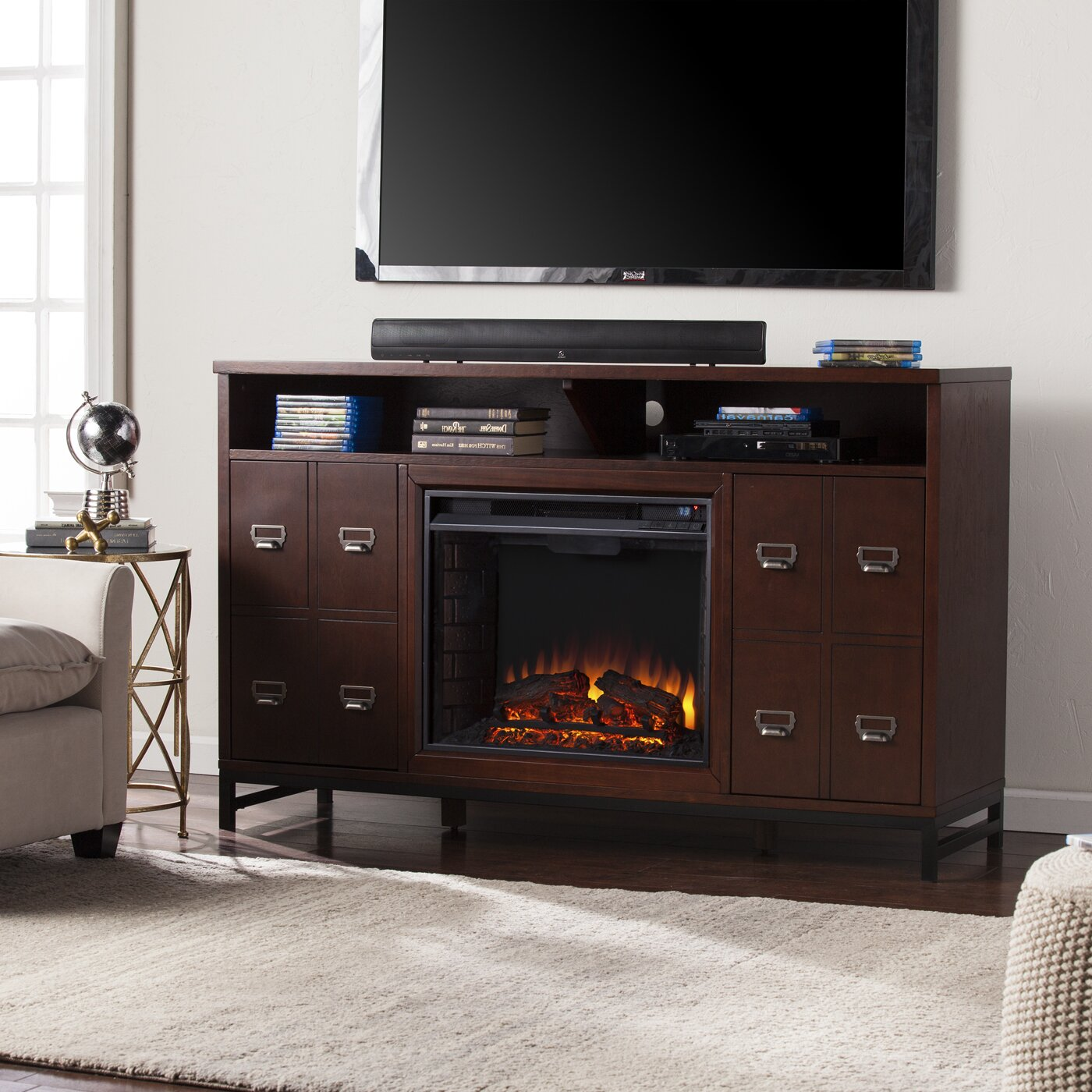 rachtman media stand electric fireplace