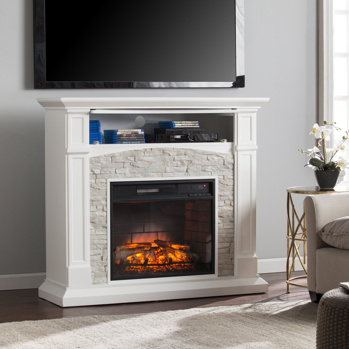 Sheldon Faux Stone Infrared Media Electric Fireplace Wayfair