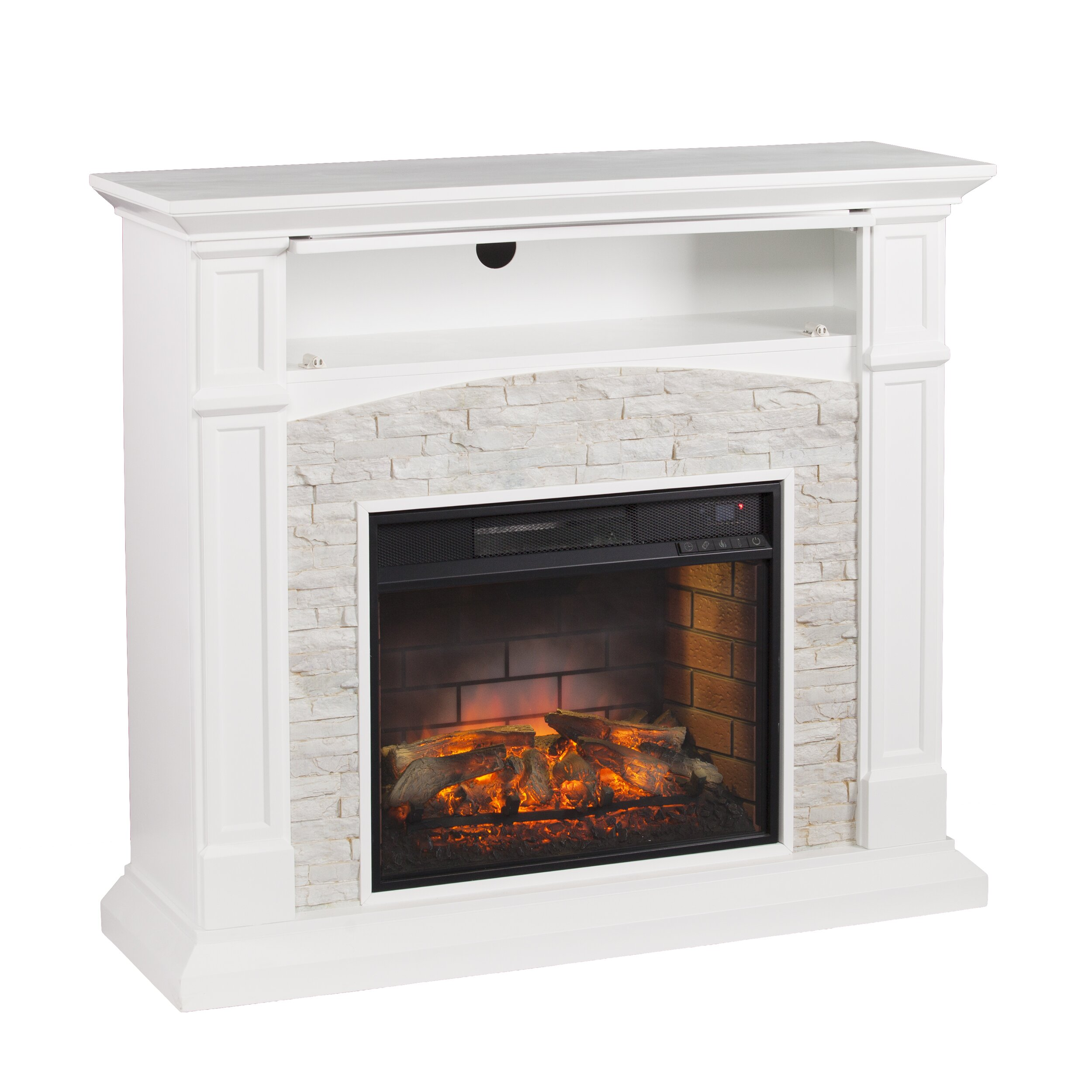 Sheldon Faux Stone Infrared Media Electric Fireplace Wayfair