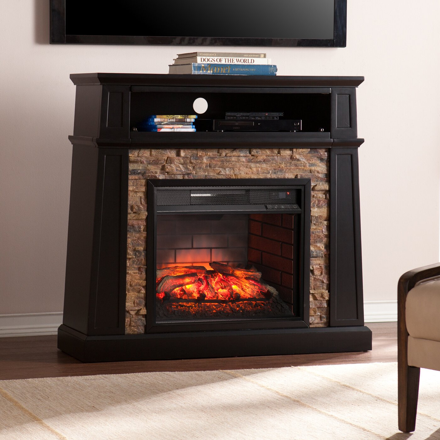 Shaffer Faux Stone Infrared Media Electric Fireplace Wayfair
