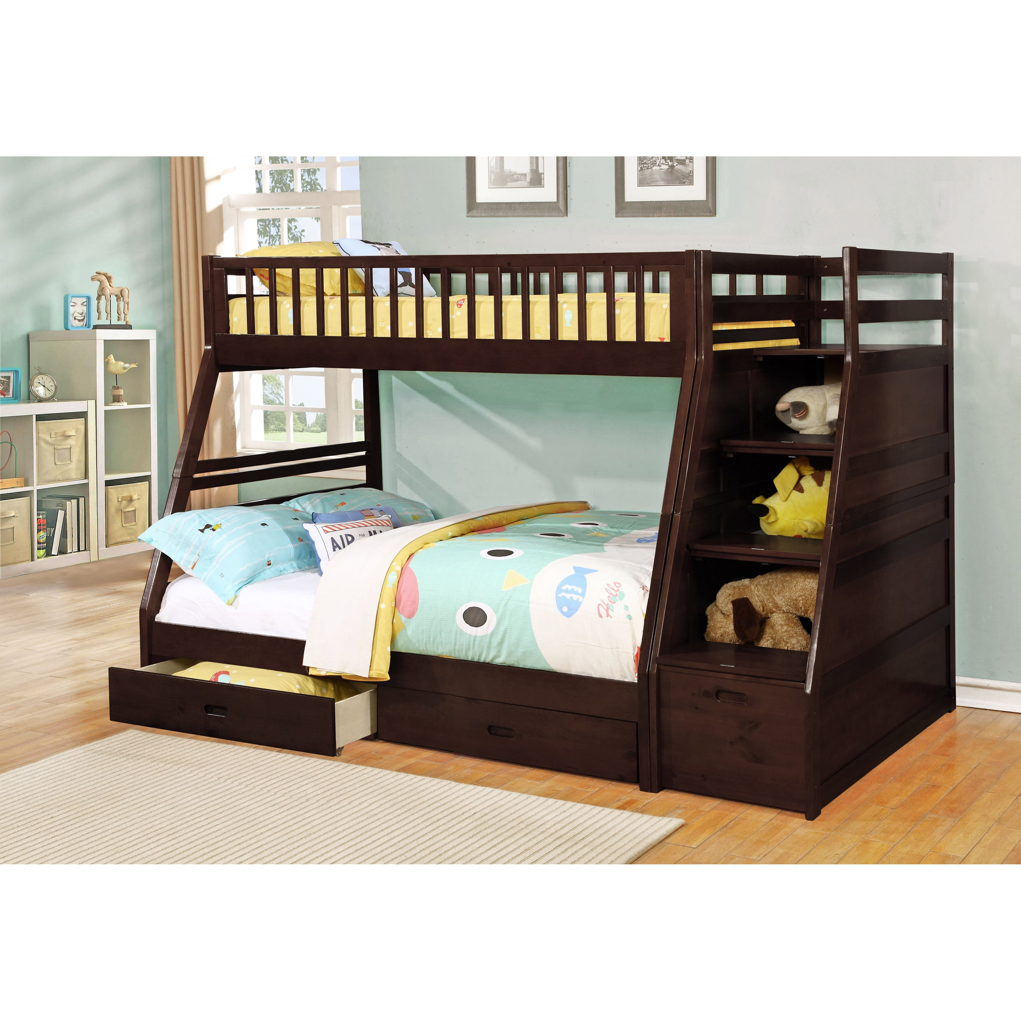 dakota twin over full bunk bed with storage wayfair. Black Bedroom Furniture Sets. Home Design Ideas