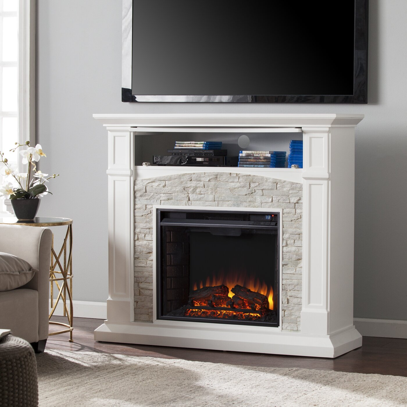 sheldon faux stone media electric fireplace wayfair