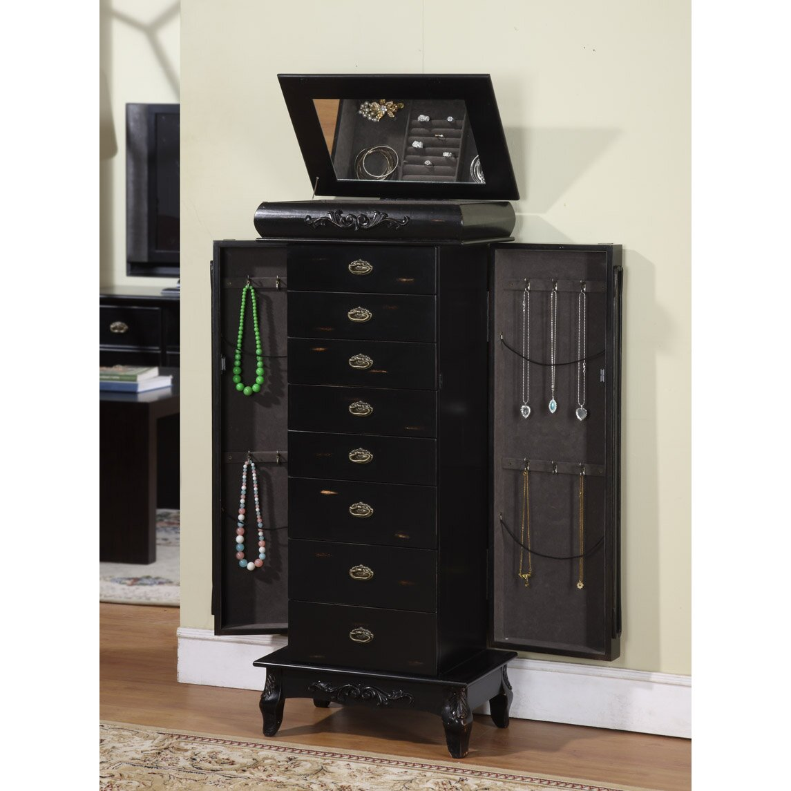 Wildon Home 174 Moser Jewelry Armoire With Mirror Amp Reviews