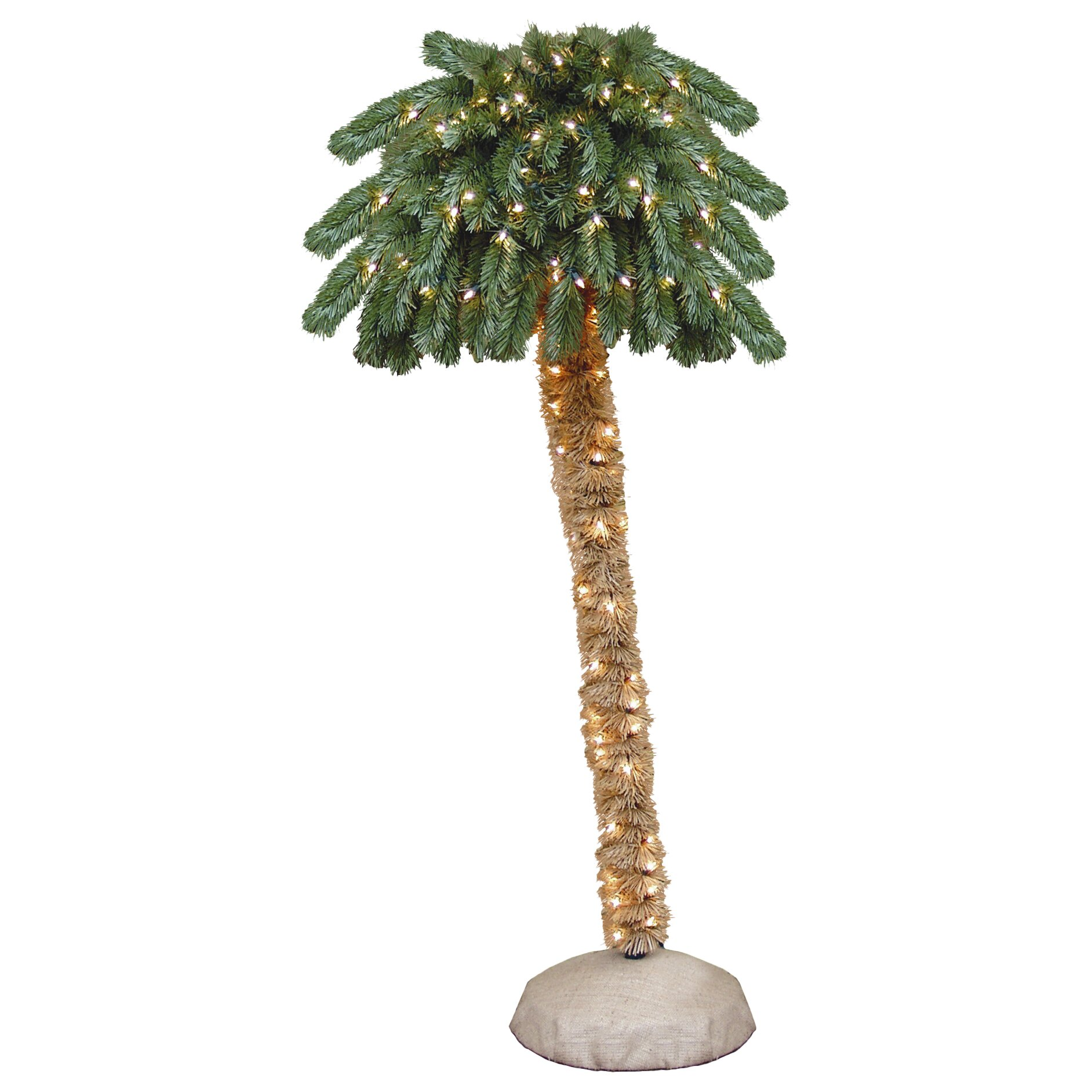 Christmas Lights Palm Trees: 6' Green Tropical Artificial Christmas Palm Tree With 150