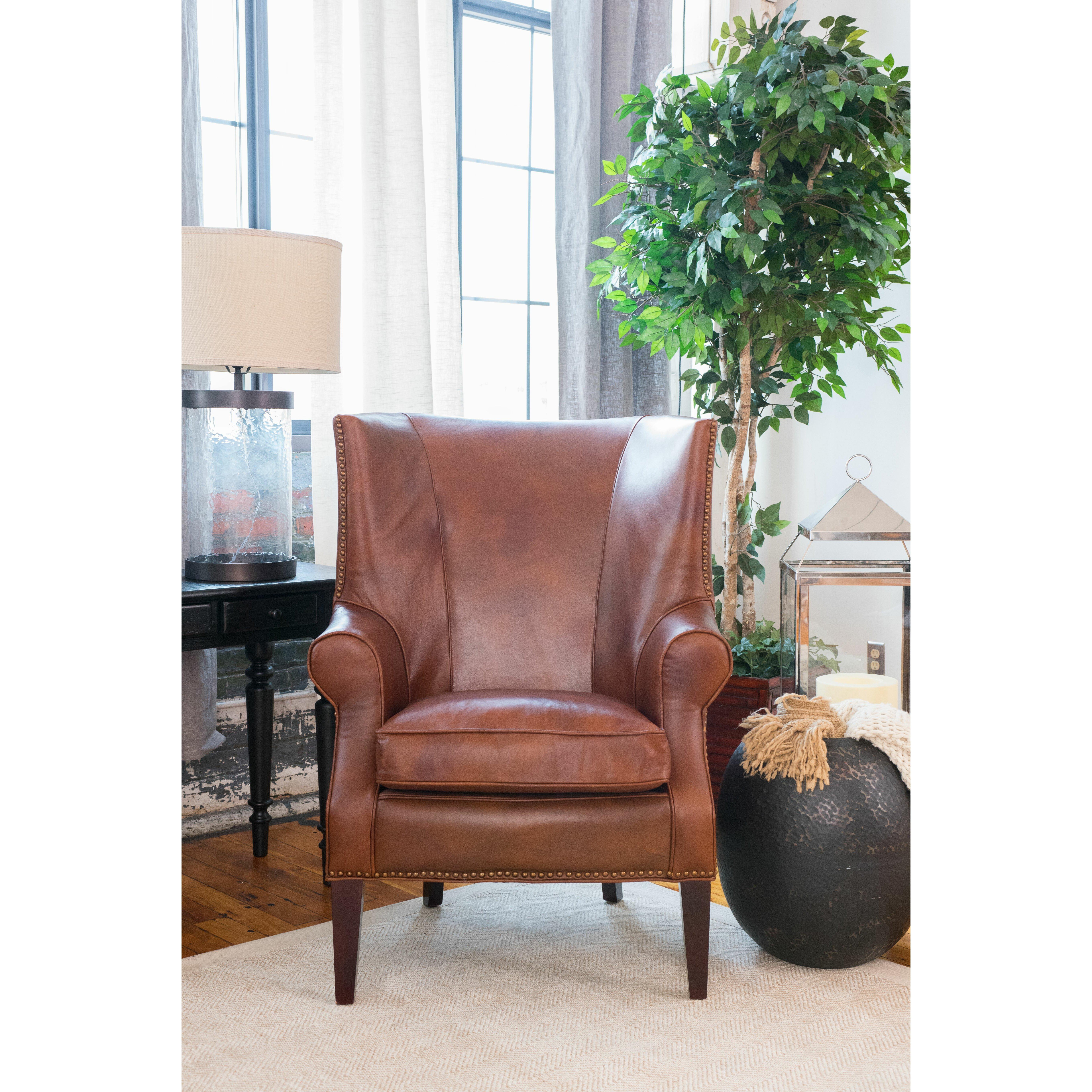 Brayden Leather Wingback Chair | Wayfair