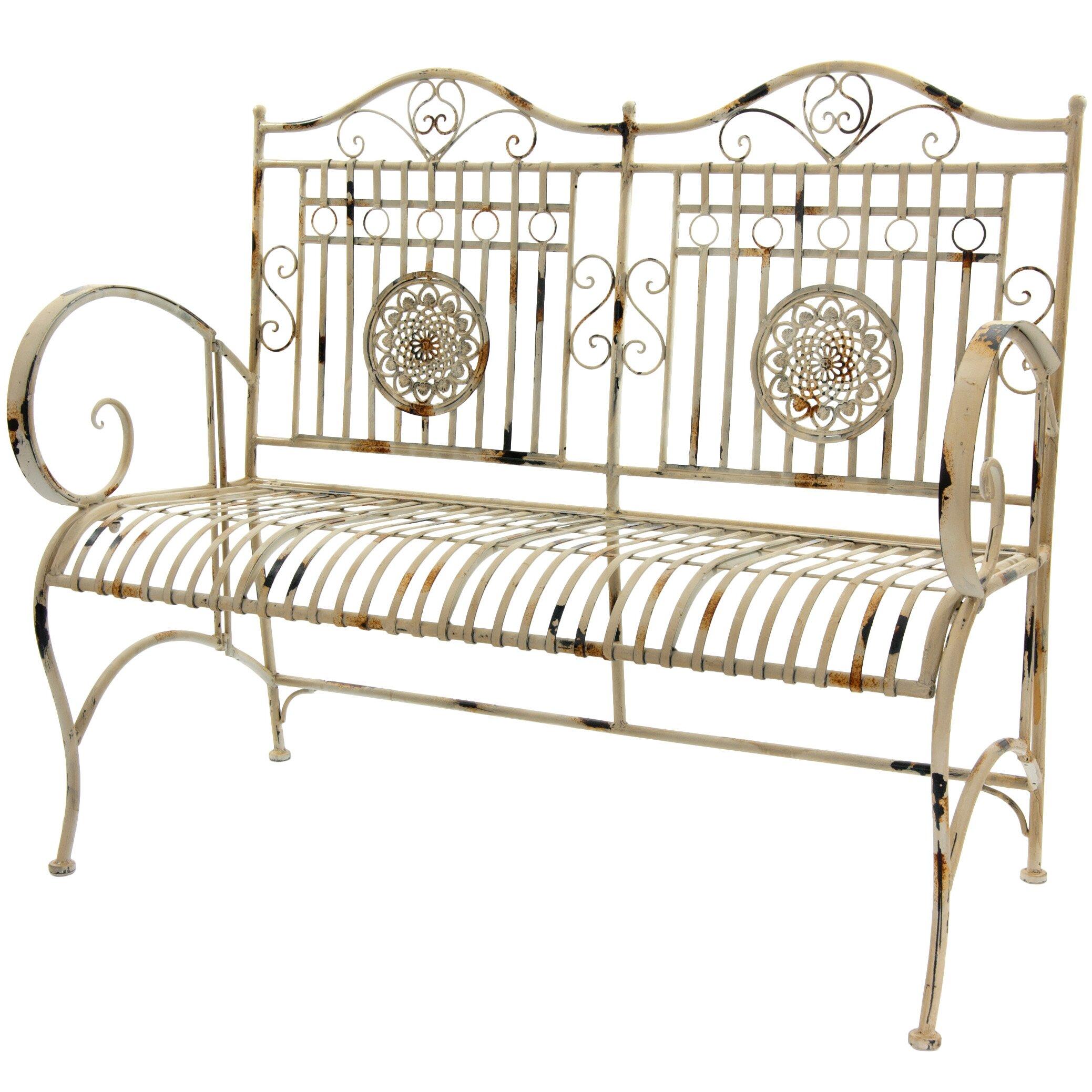 Rustic Metal Garden Bench | Wayfair