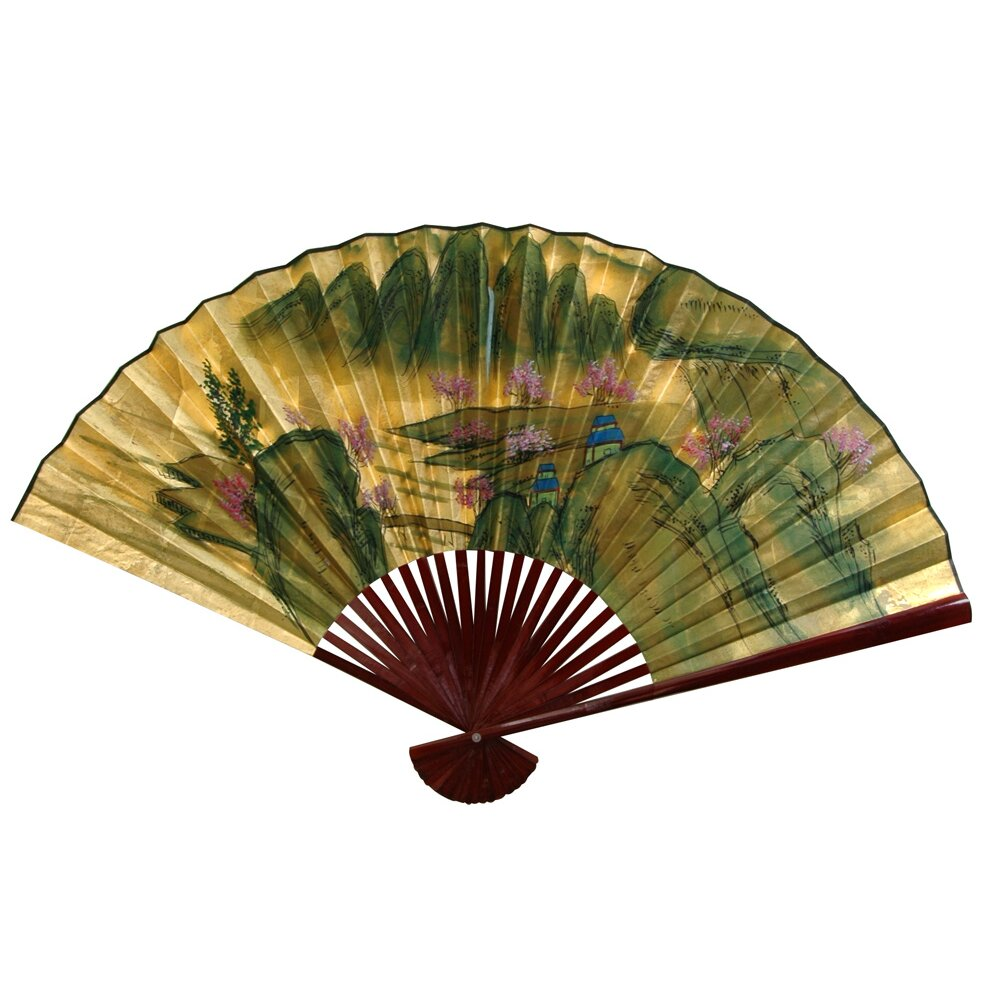Oriental Furniture Landscape Mountain Fan Wall D Cor