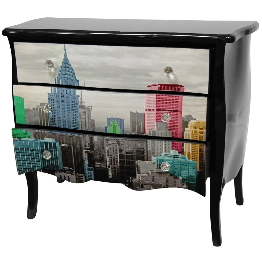 Lacquer colorful new york city 3 drawer cabinet wayfair for Asian furniture nyc