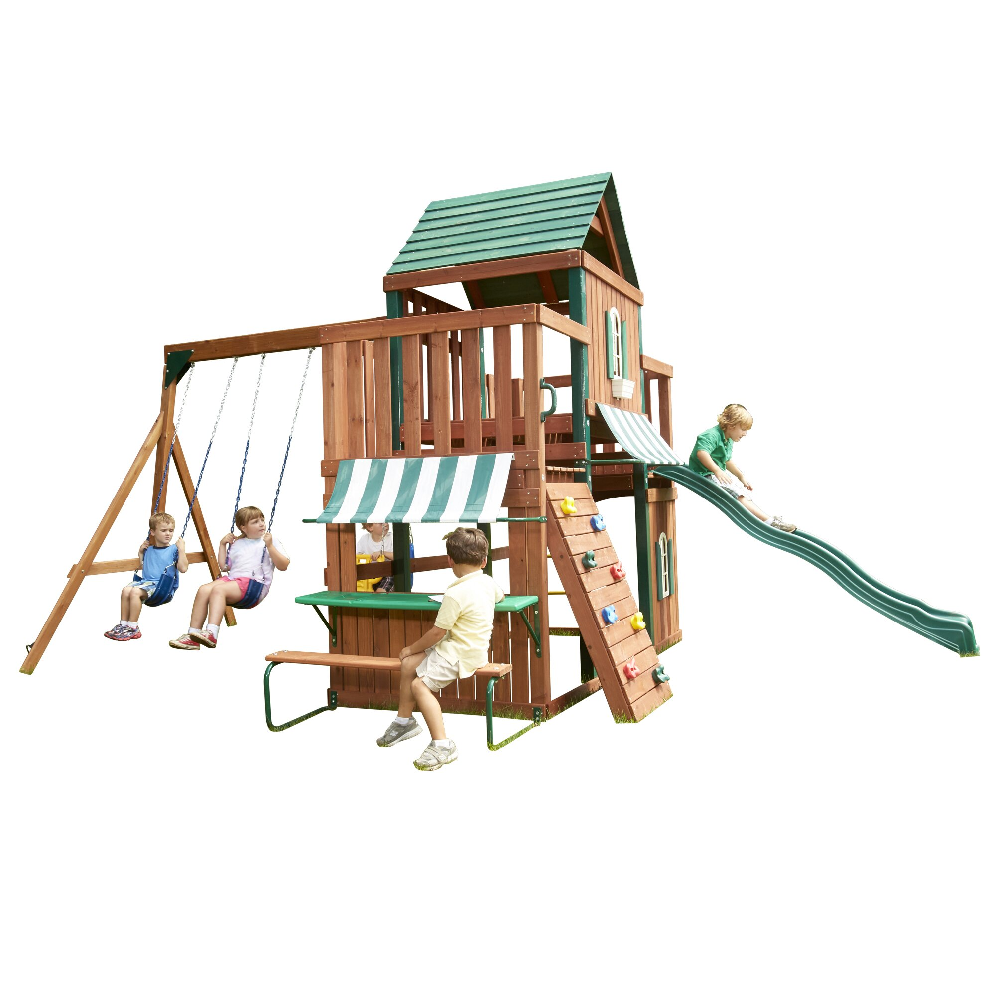 Big Backyard Charleston Lodge : Winchester Wood Complete Swing Set by Swing n Slide