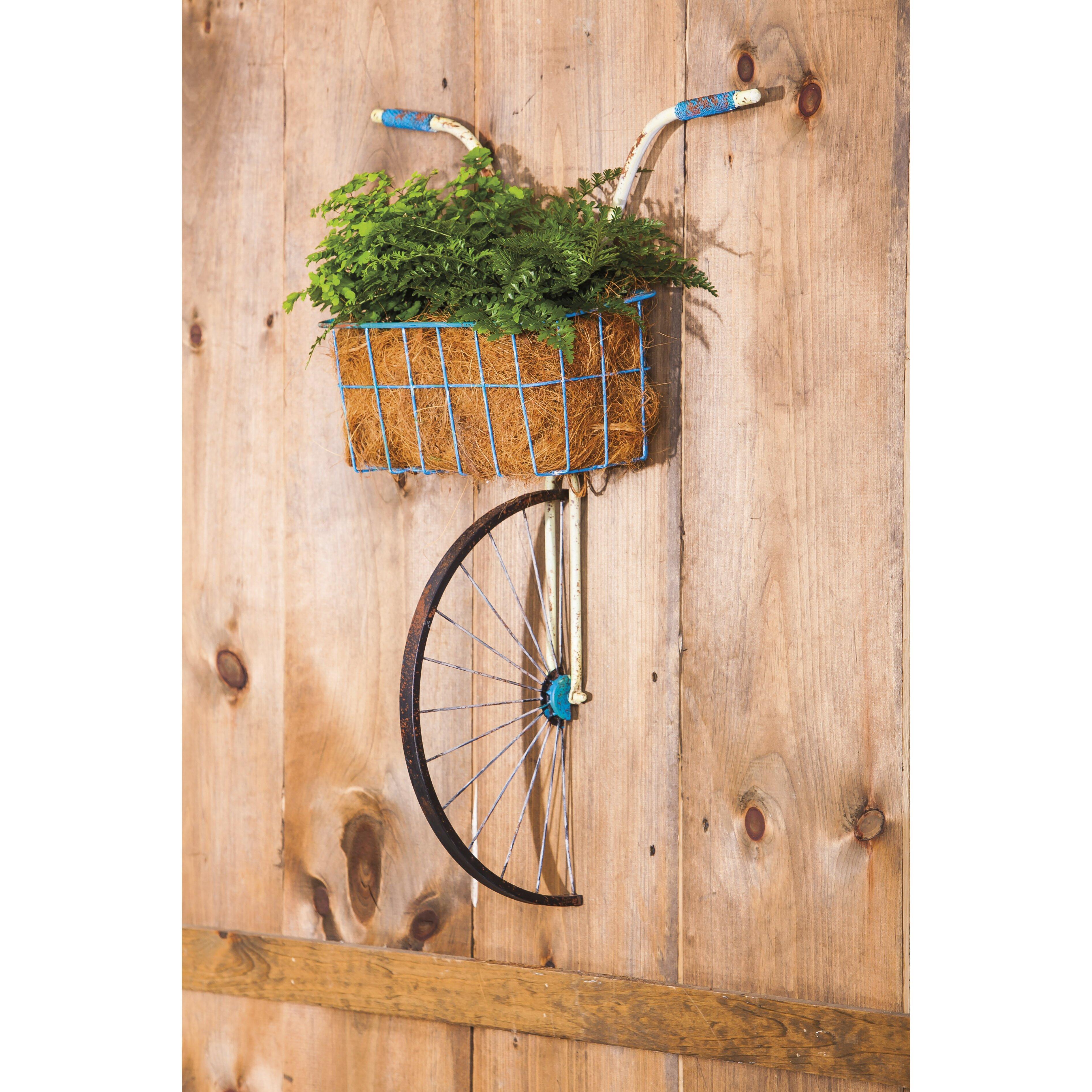 Wall Art Metal Bicycle : Front basket metal bicycle and planter wall decor wayfair