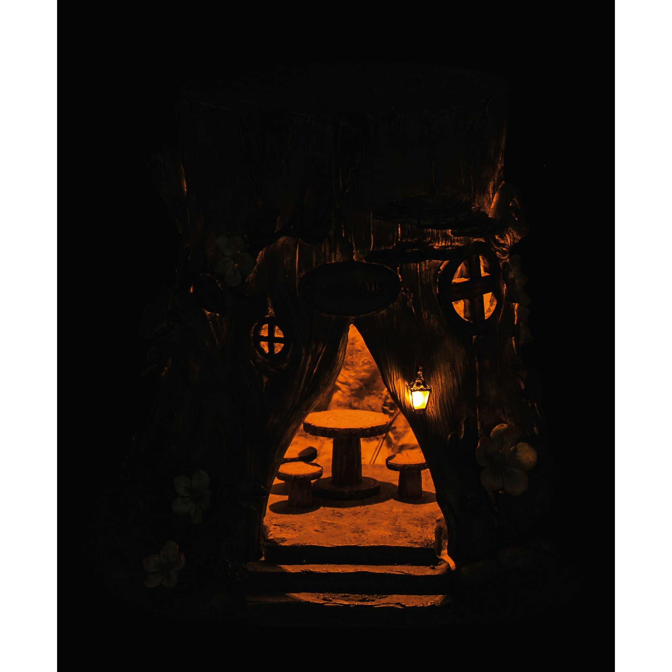 Lighted Tree Stump Fairy House Figurine Wayfair