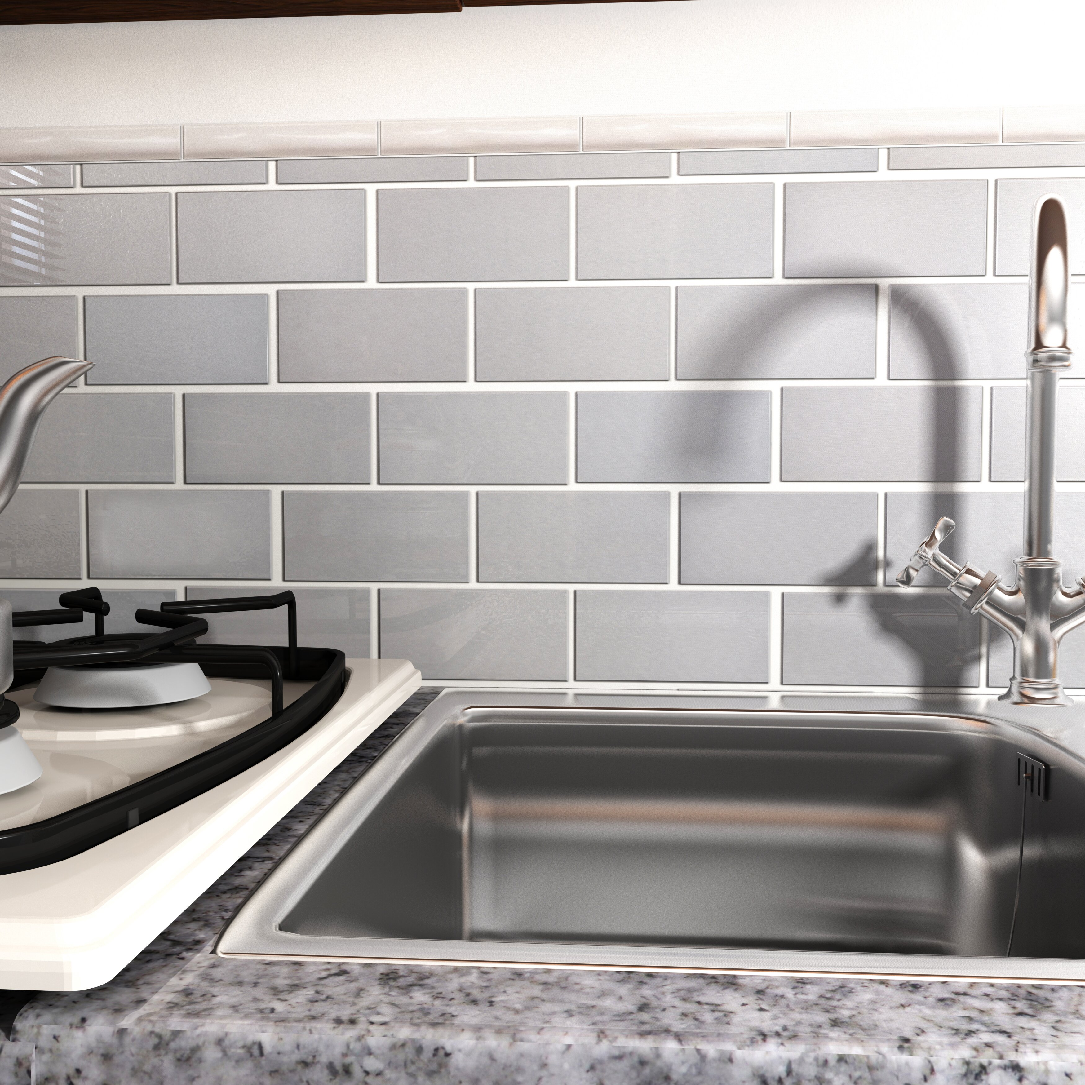 "Ceramic Subway Tile Kitchen Backsplash: EliteTile Vulcan 3"" X 6"" Stainless Steel Over Porcelain"