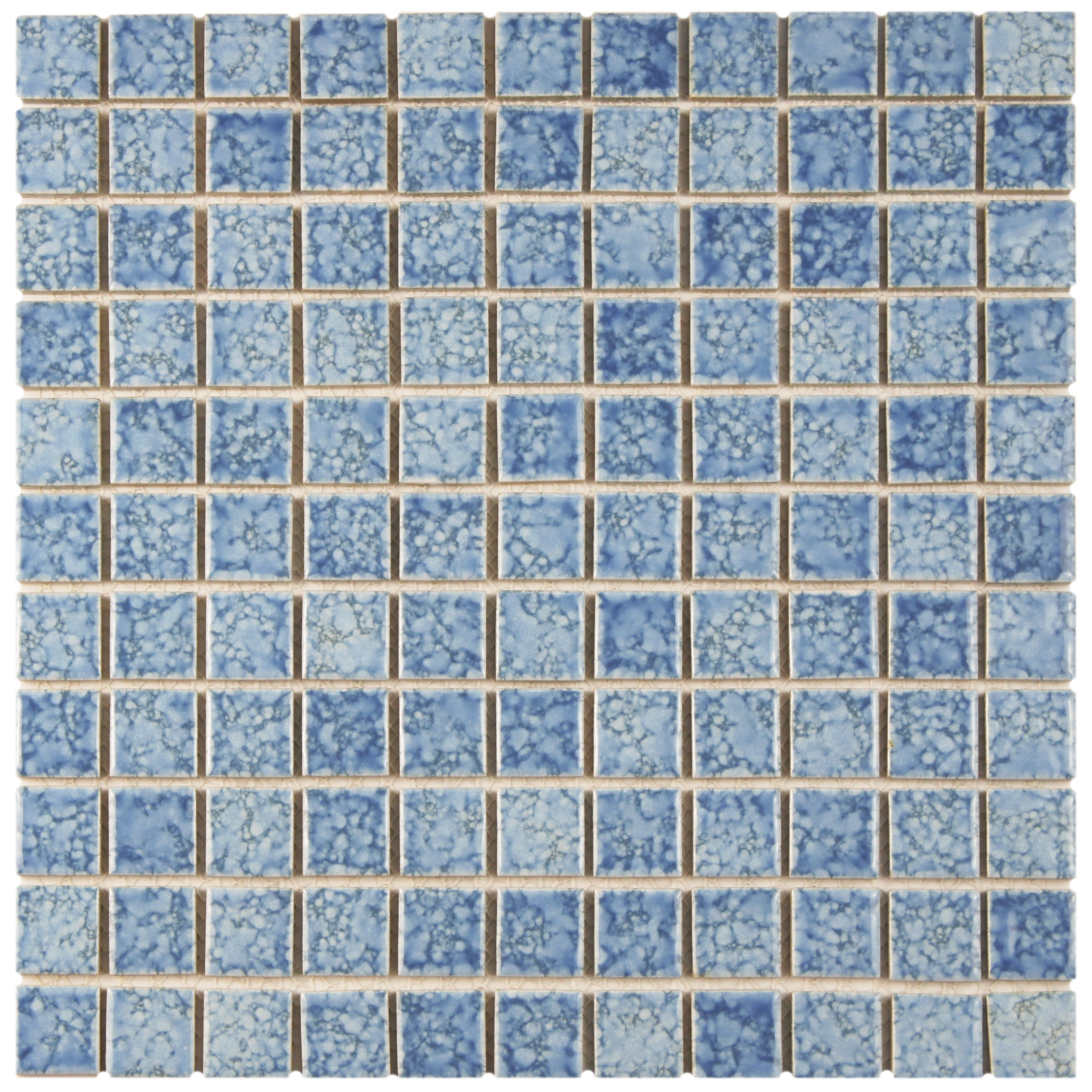 Geneva 1 x 1 porcelain mosaic tile in blue wayfair for 12 x 12 blue ceramic floor tile