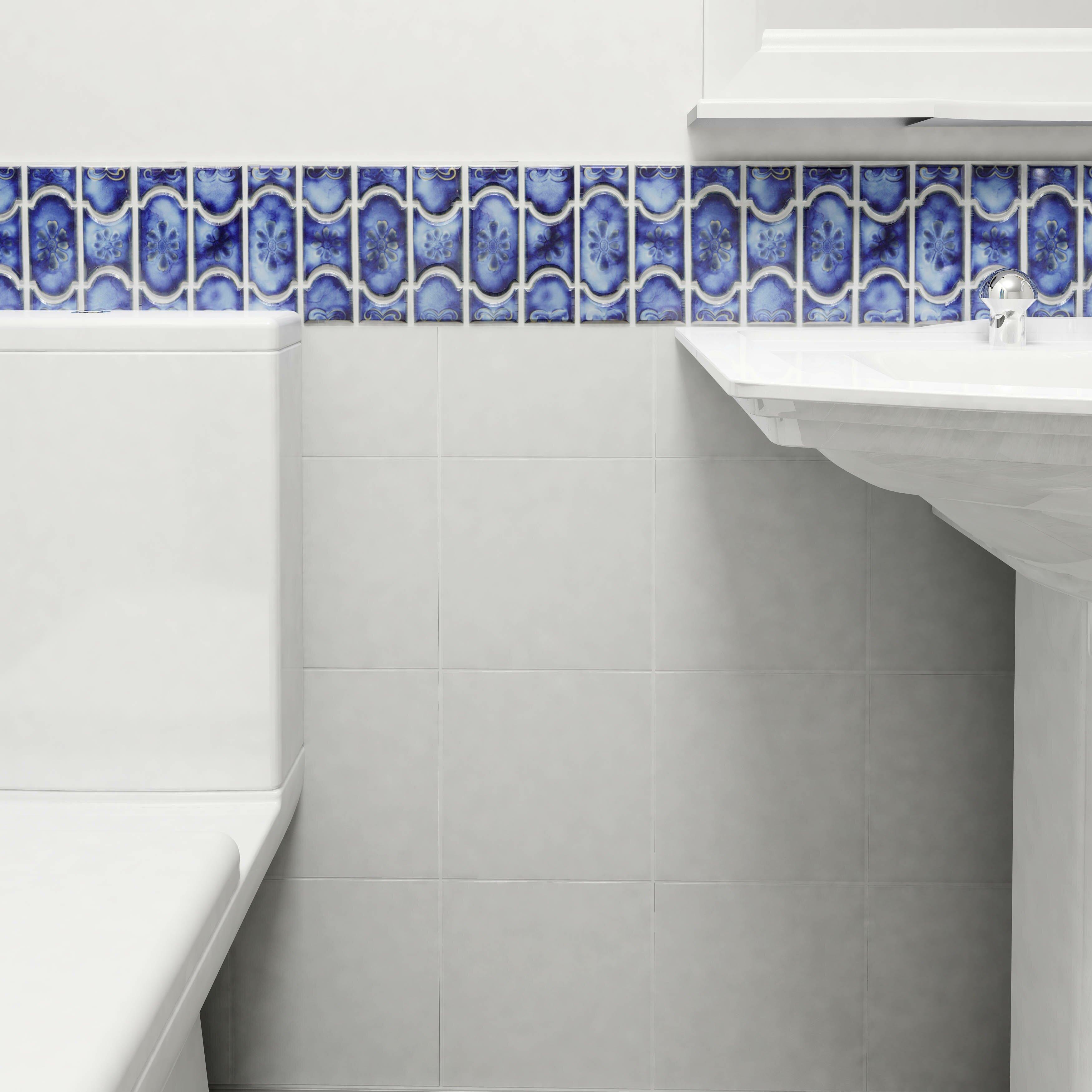 Mondego 12 5 x porcelain mosaic tile in blue wayfair for 12 x 12 blue ceramic floor tile