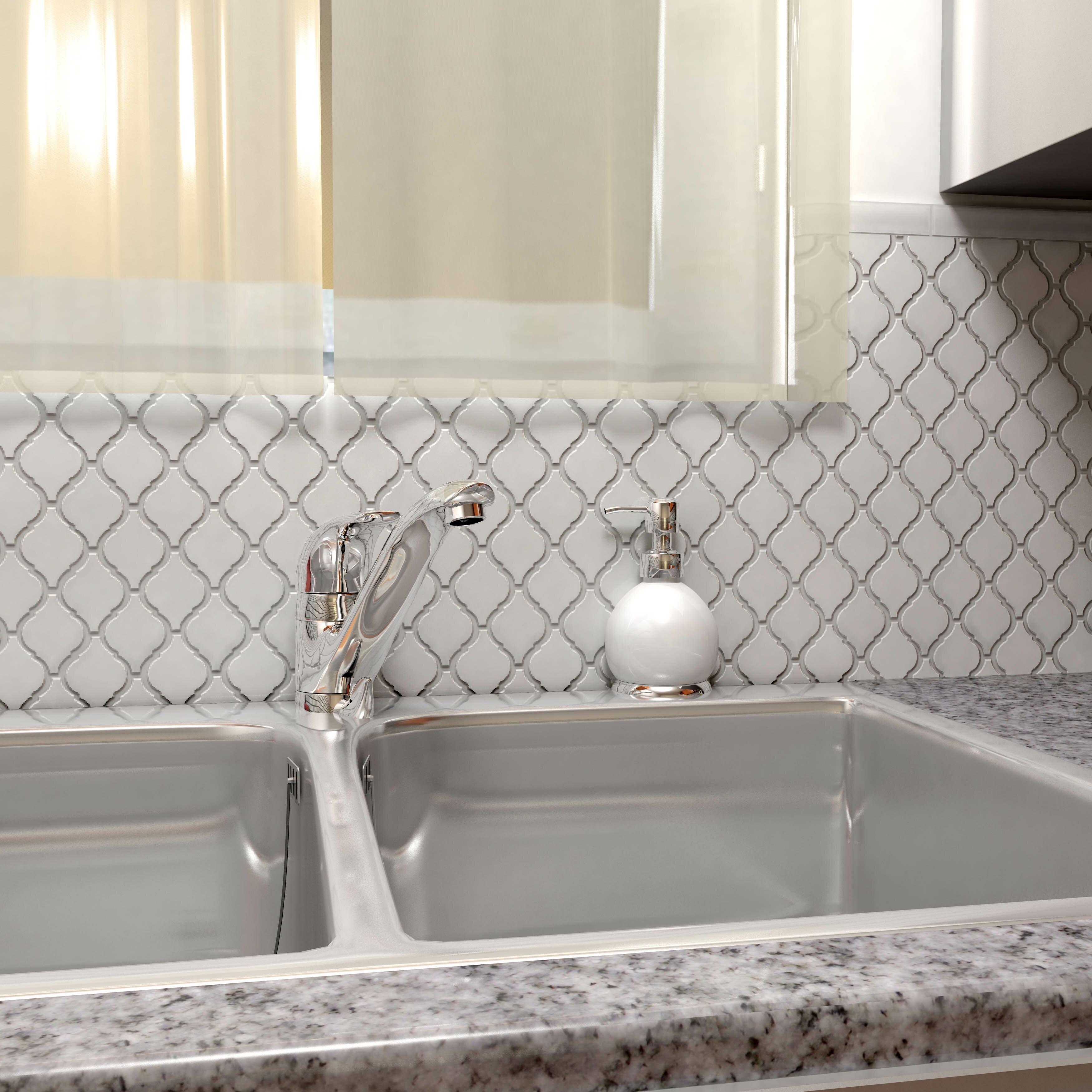 "Ceramic Tile Kitchen Backsplash: Arabesque 2-3/4"" X 1-7/8"" Porcelain Glazed Mosaic In"