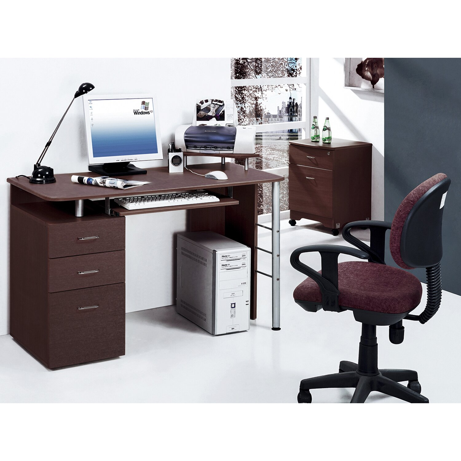 Computer Desk With Keyboard Tray Printer Platform And