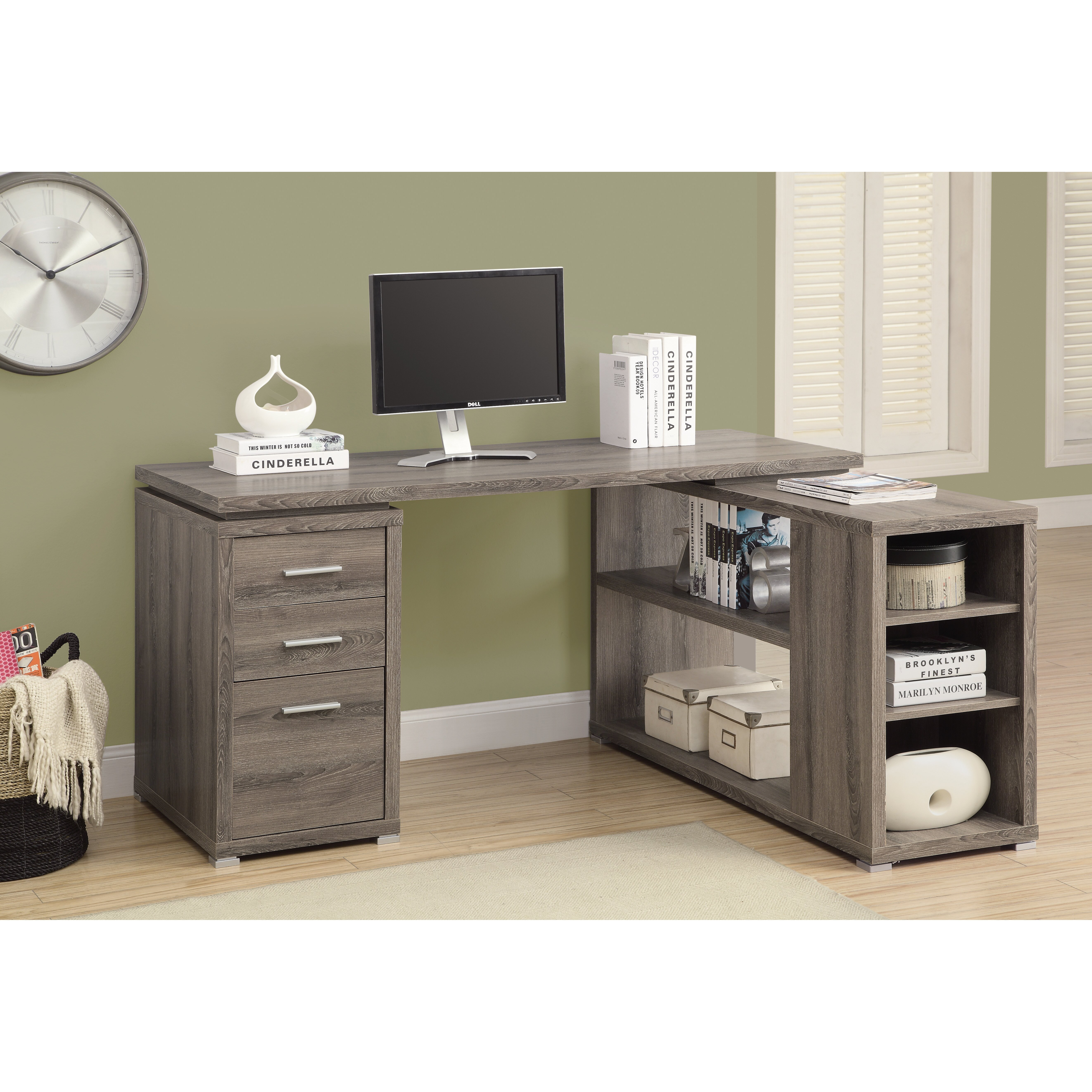 Monarch Specialties Inc Corner L Shaped 3 Drawer Writing