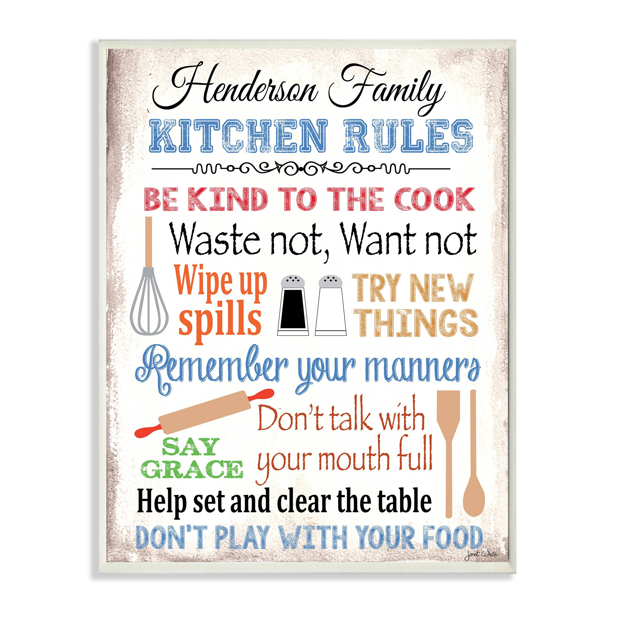 Kitchen Courtesy Signs: Stupell Industries Personalized Kitchen Rules By Janet