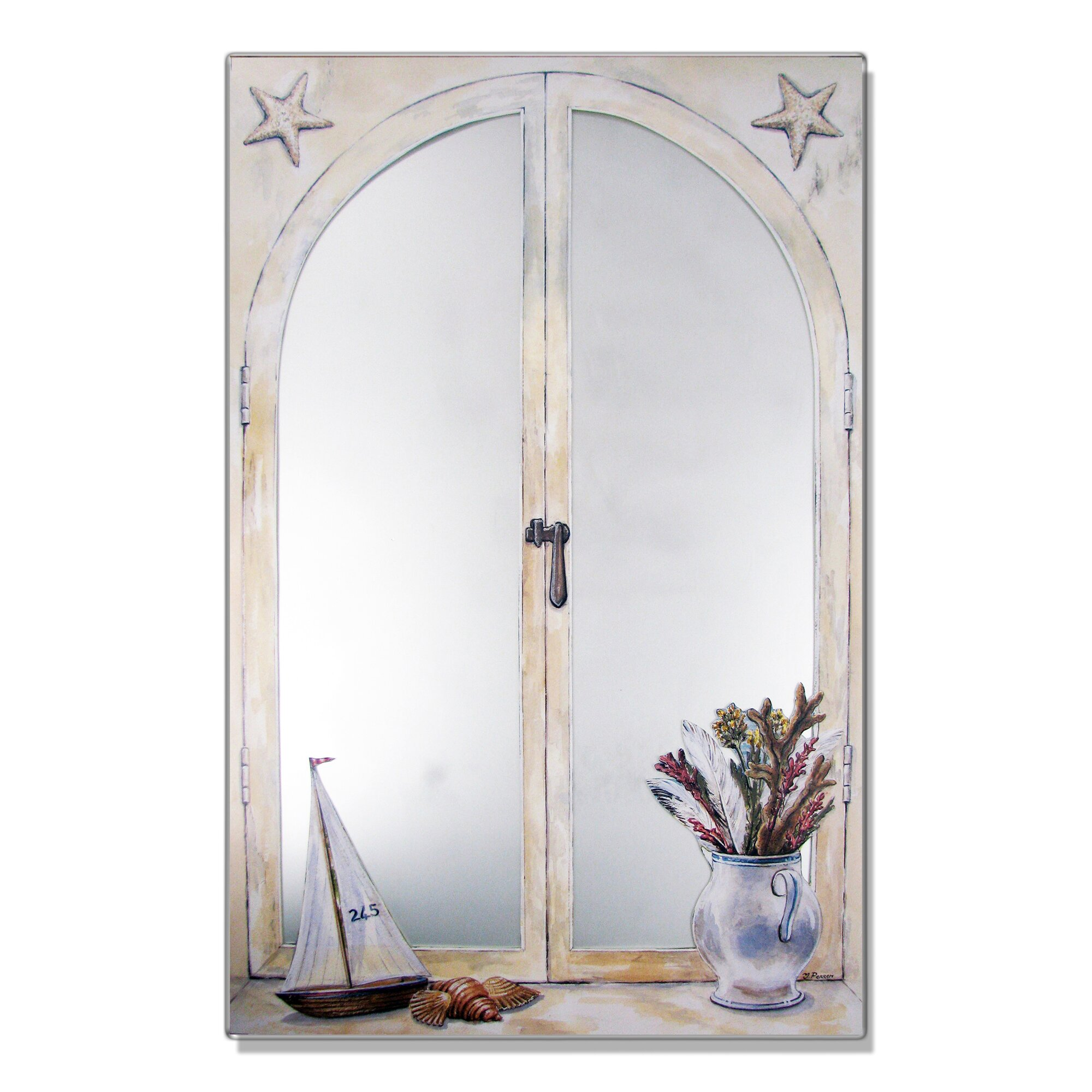 mirrors for bathrooms stupell industries sailboat and vase faux window mirror 13704