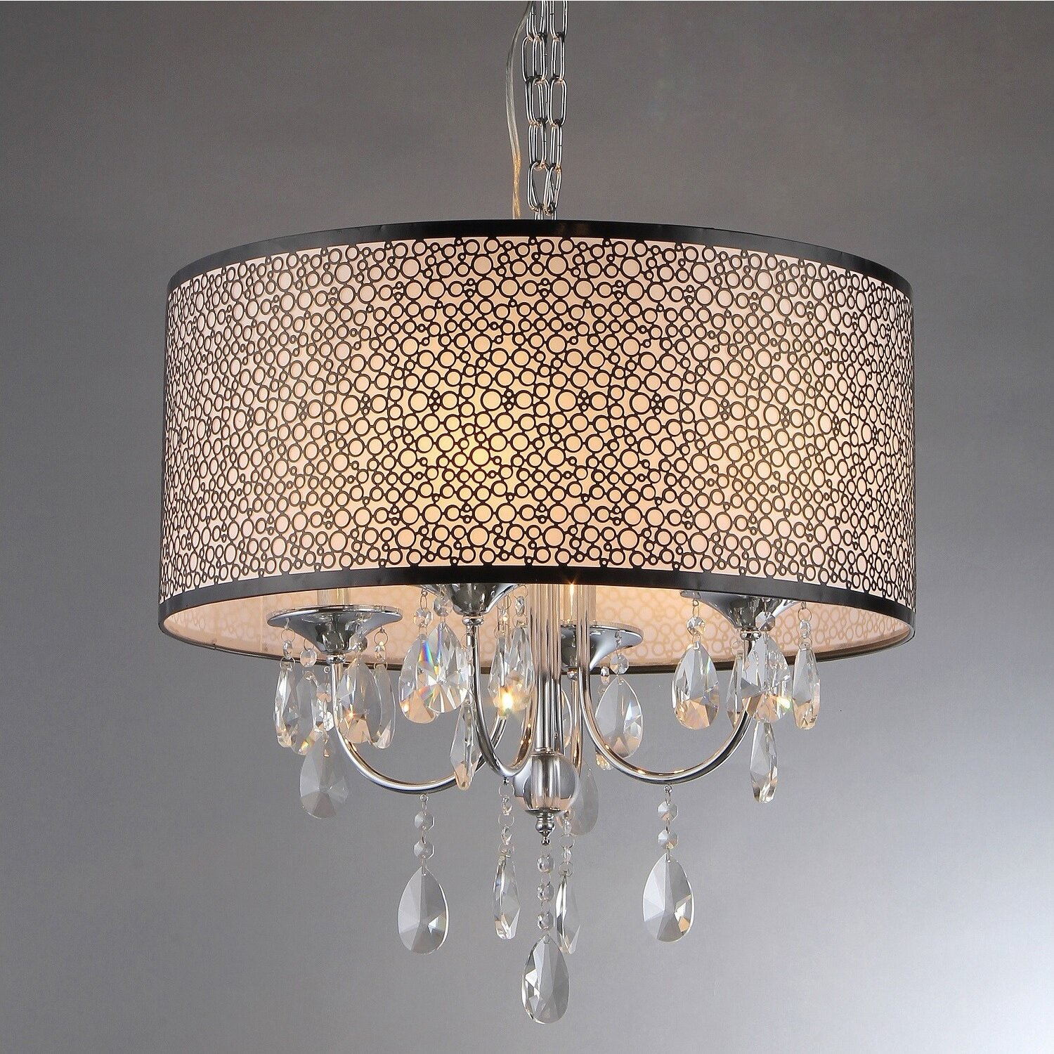 warehouse of tiffany lush 4 light crystal drum chandelier reviews. Black Bedroom Furniture Sets. Home Design Ideas